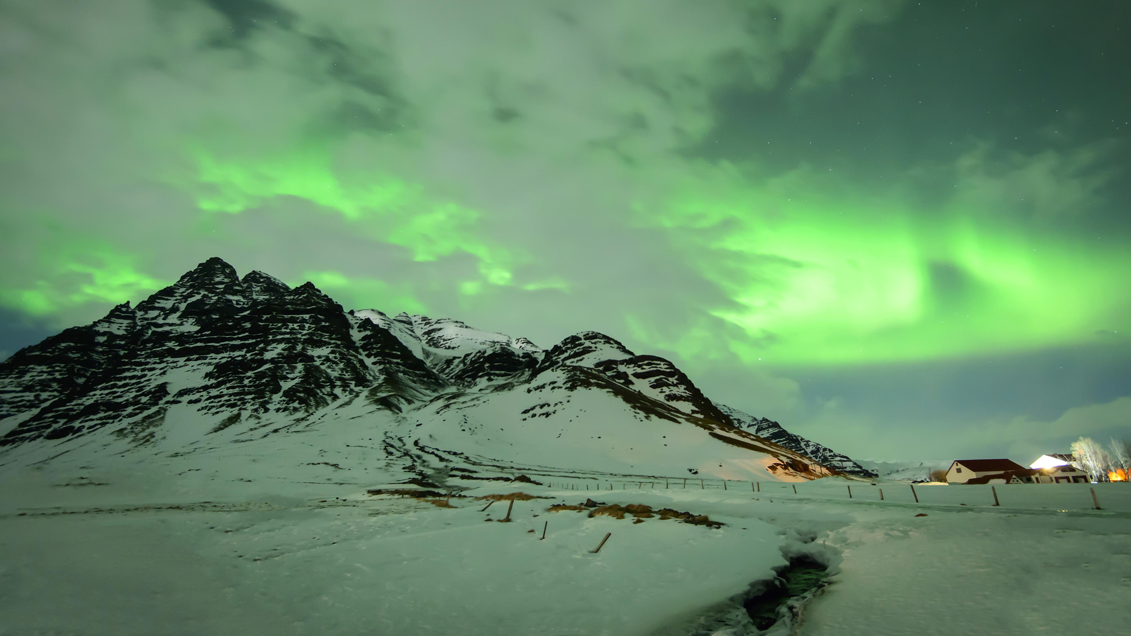 сияние озеро снег  № 2479123 бесплатно
