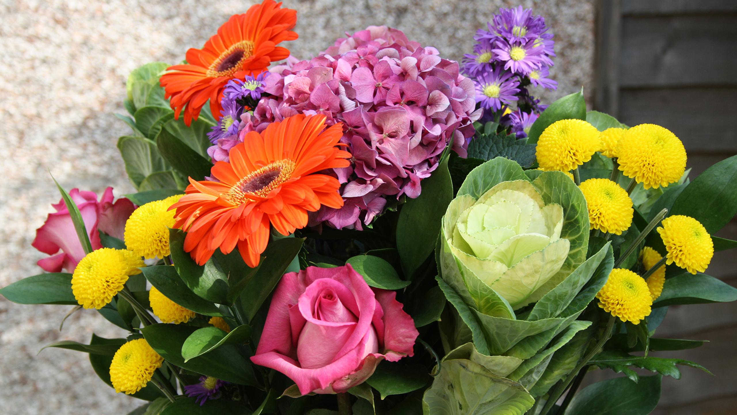 обои на рабочий стол букеты розы герберы лилии гвоздики № 172284  скачать