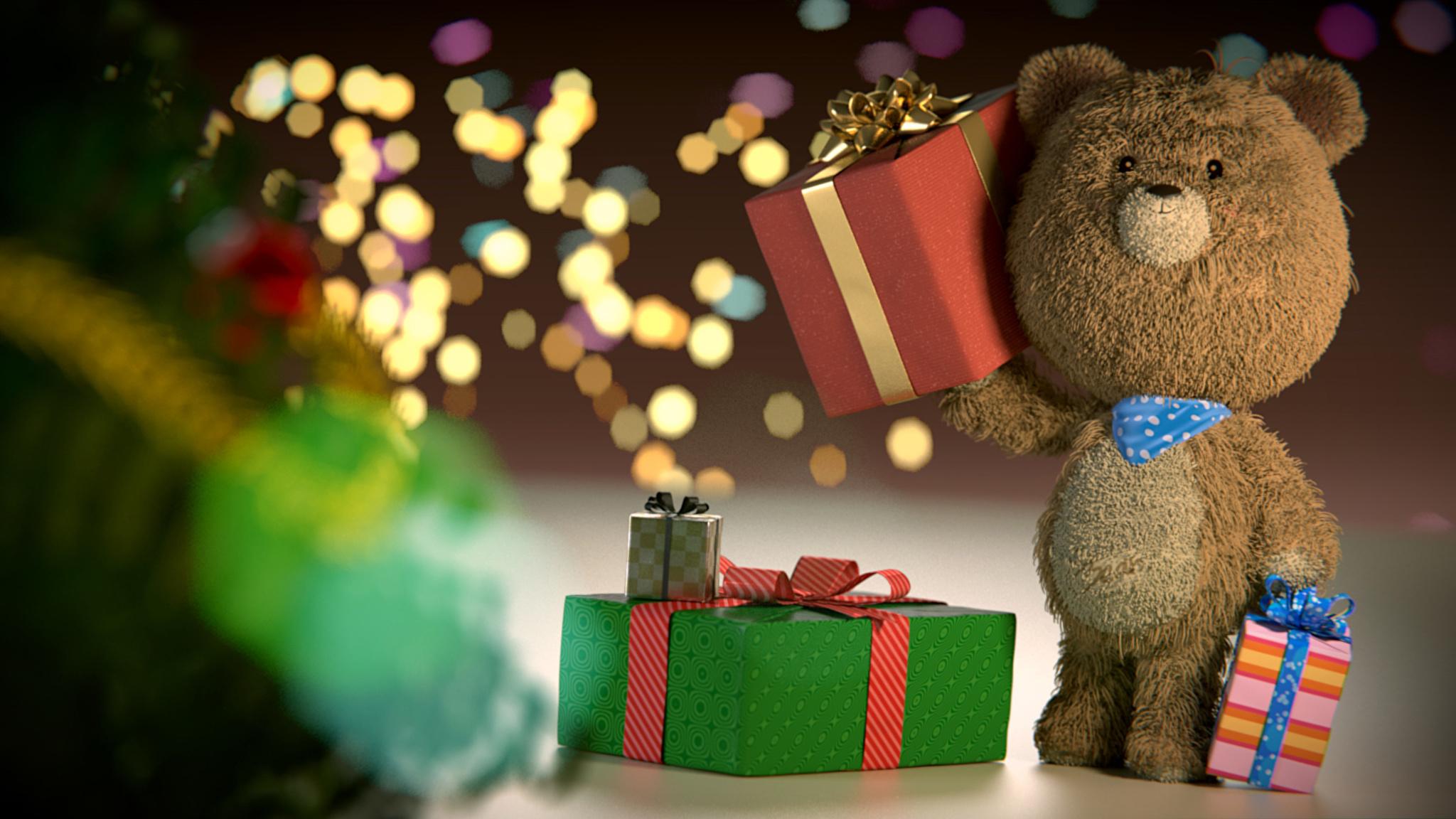 Фото мишки с подарком