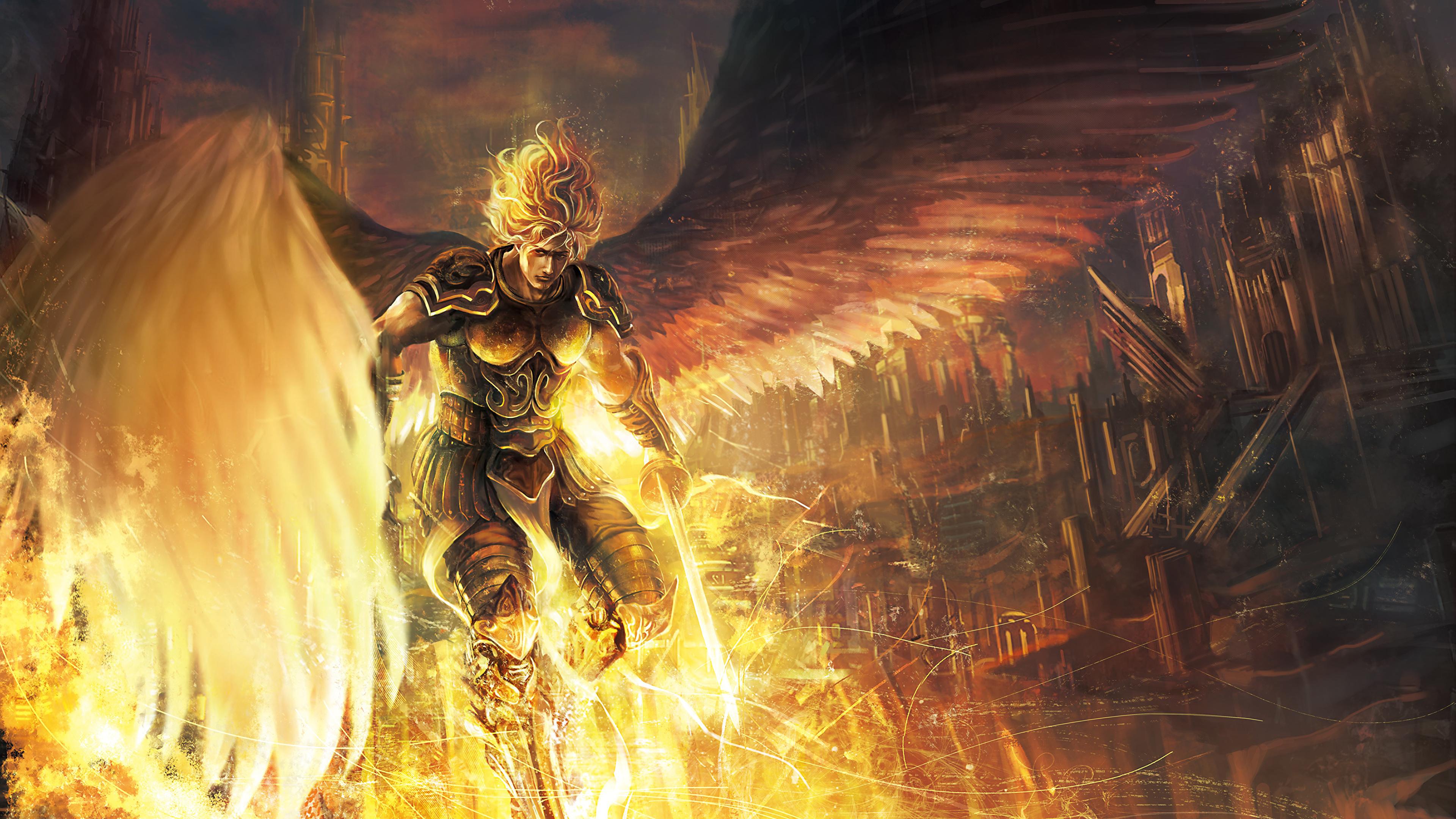 Мжчина с окровавленным мечем в огне  № 1840945 бесплатно