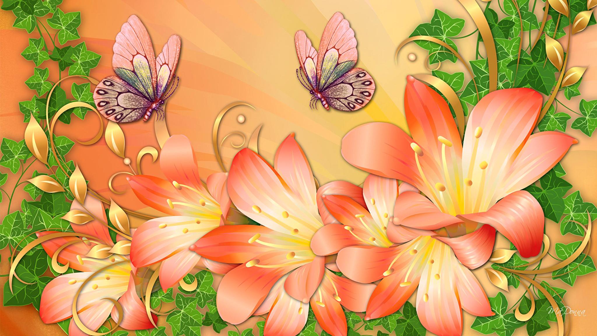 бабочки из лепестков  № 2303900  скачать