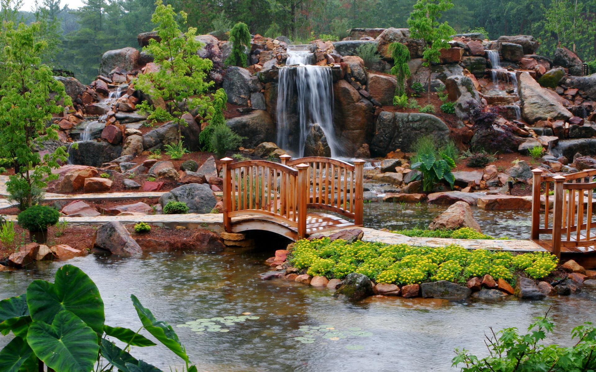 водопад водоем waterfall the pond  № 736635 бесплатно