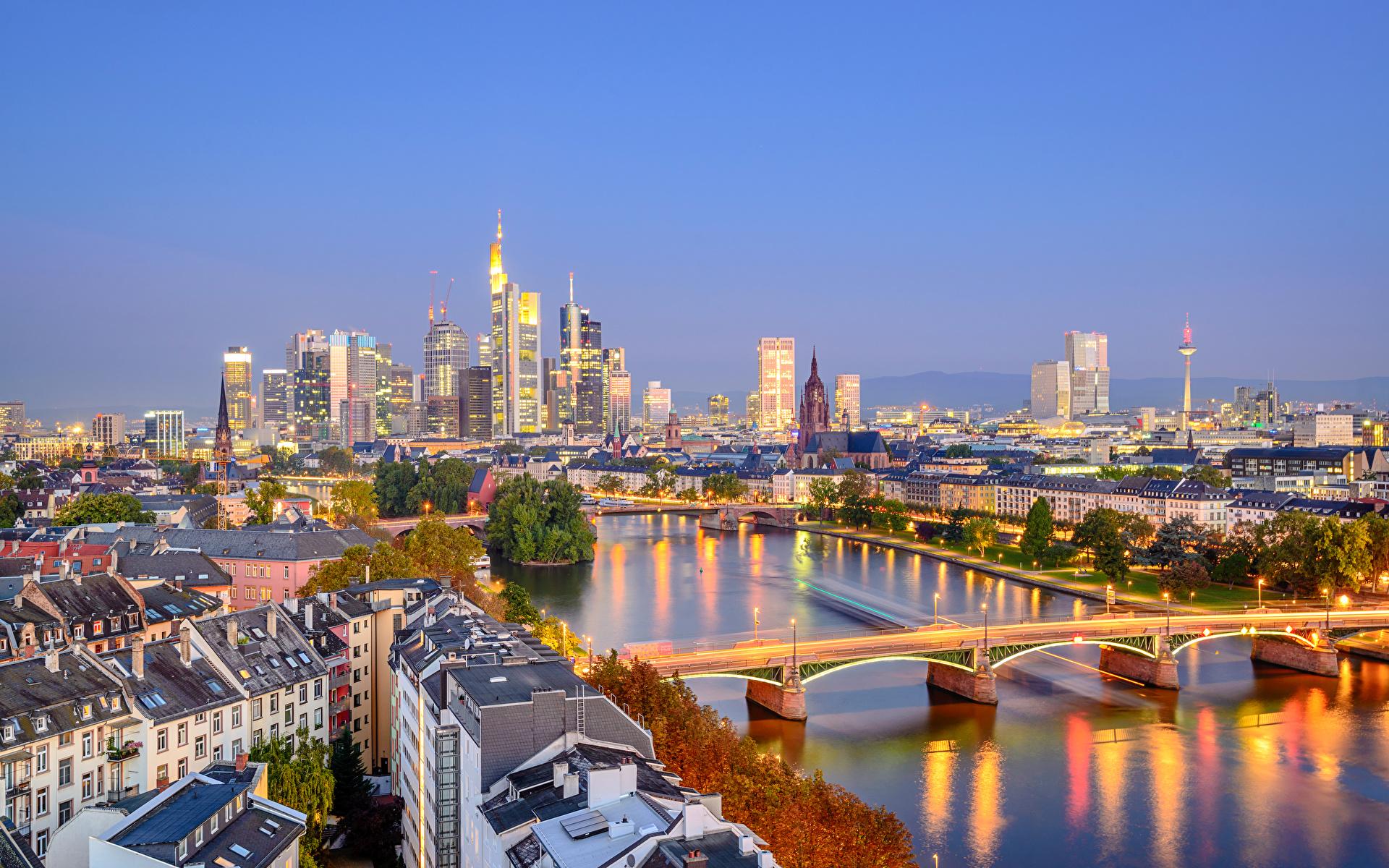 страны архитектура вечер город Франкфурт-на-Майне Германия  № 155561  скачать