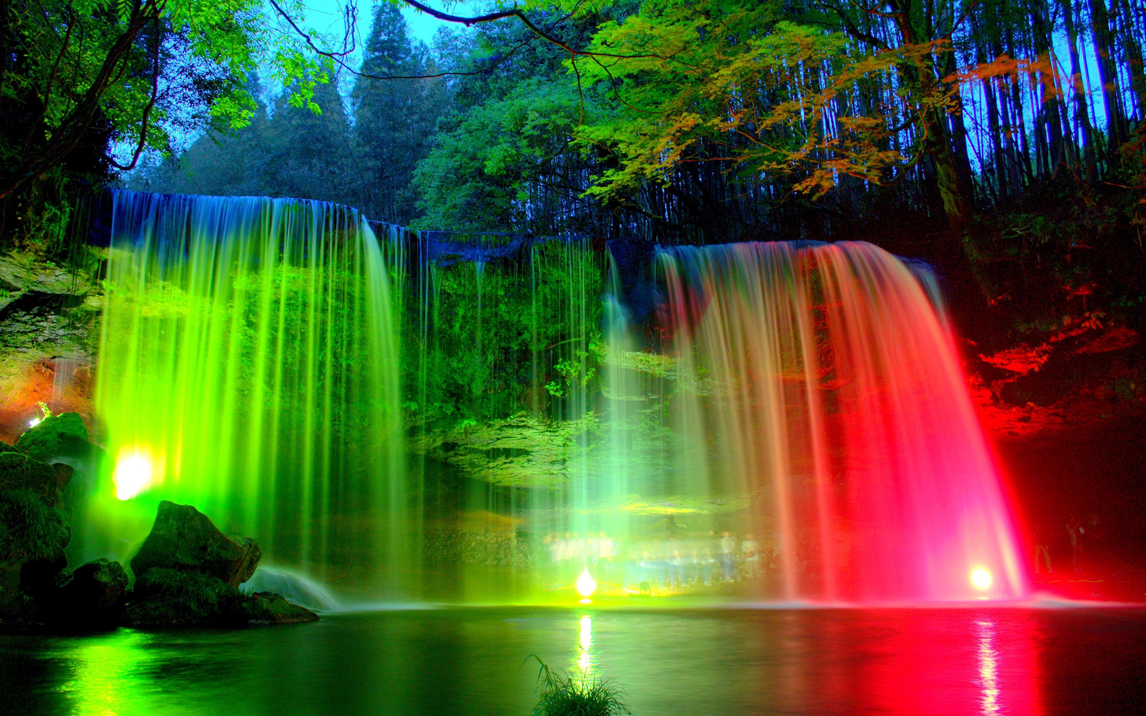 природа водопад деревья радуга  № 70410 загрузить