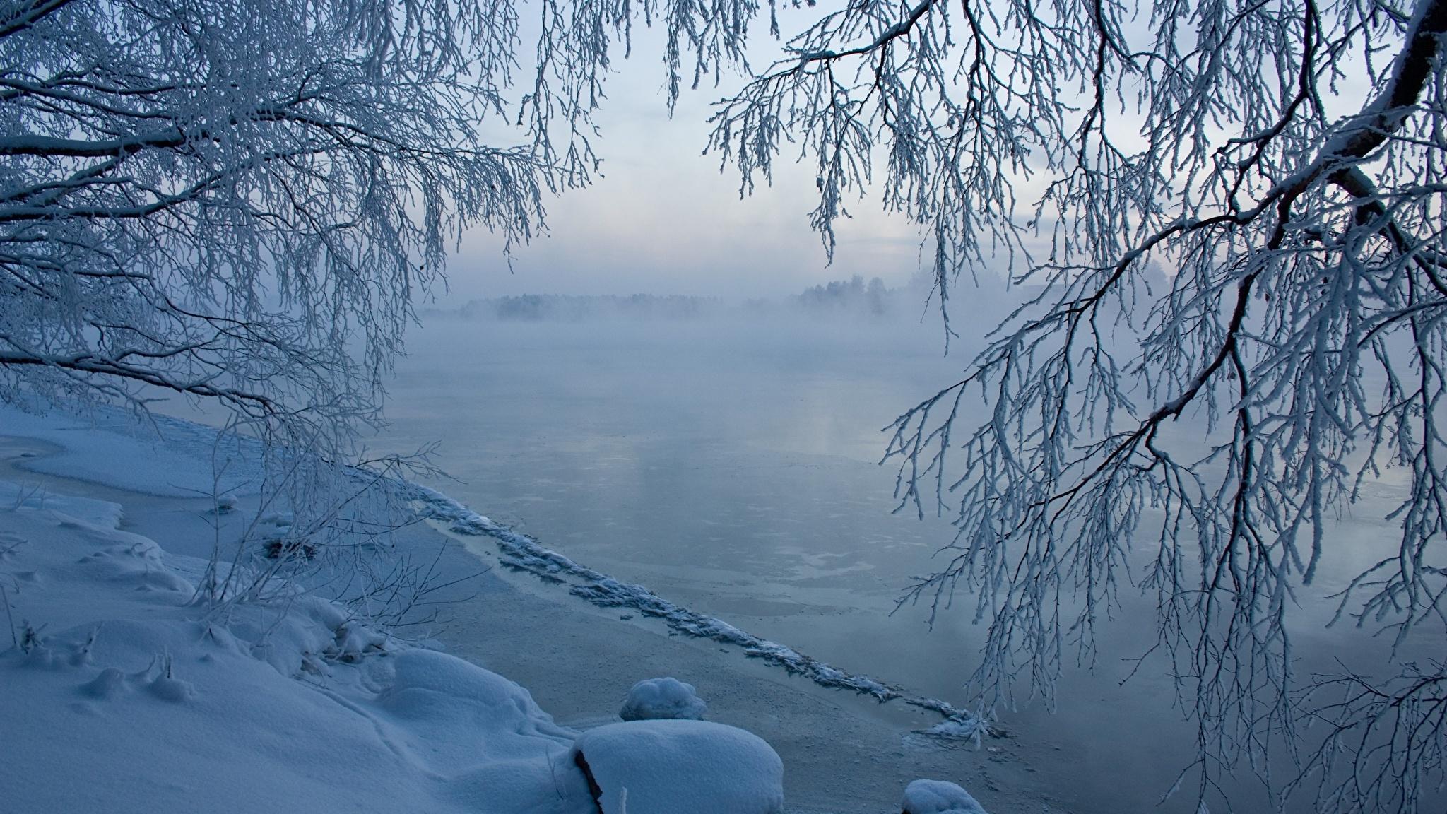 озеро зима иней the lake winter frost  № 580149 без смс