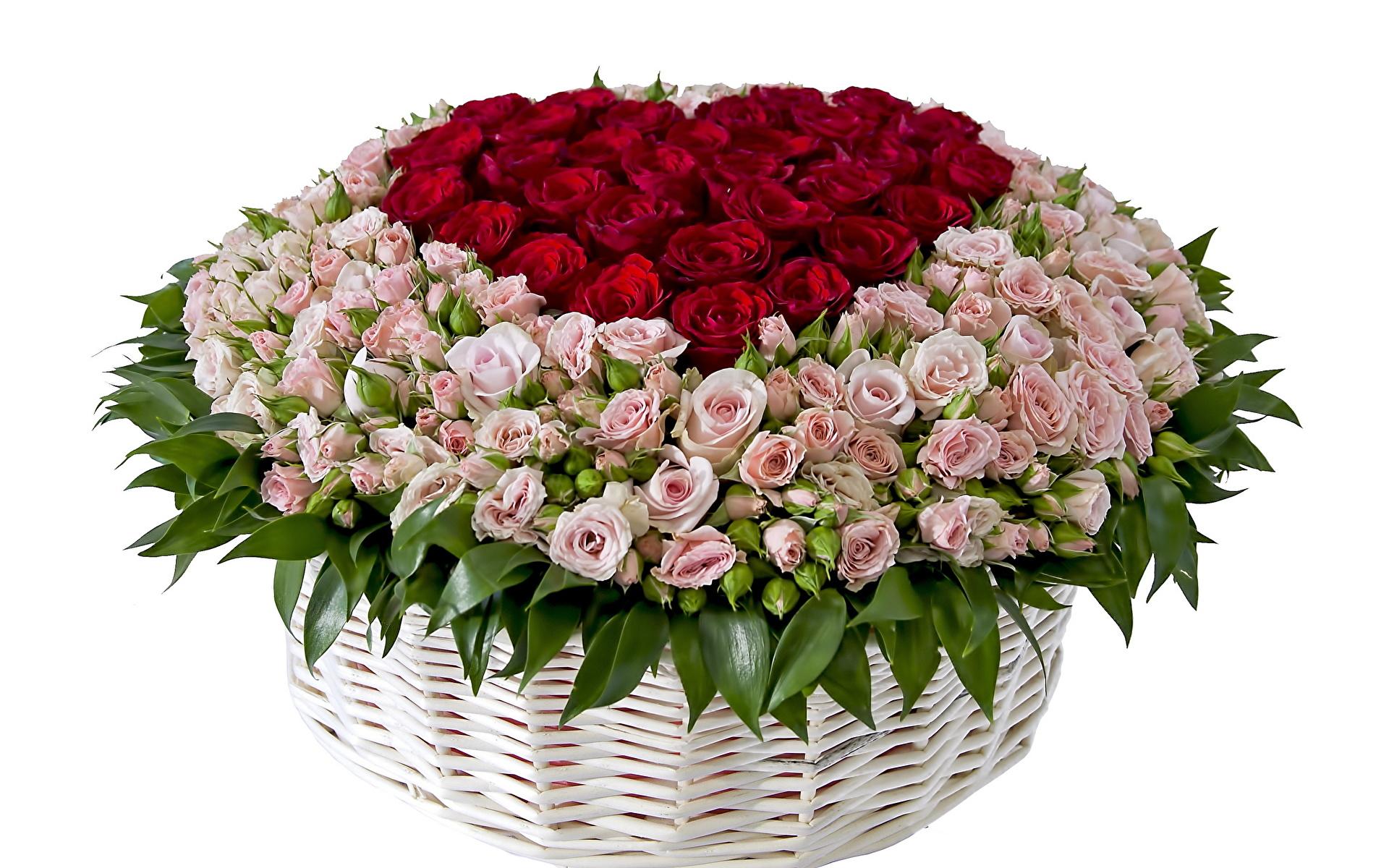 Открытка с днем рождения корзина роз
