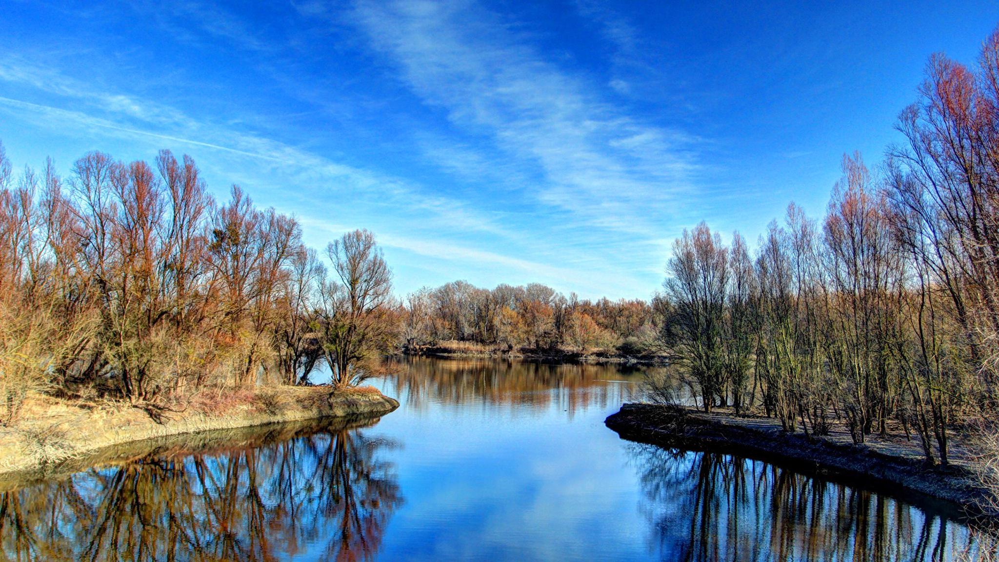 природа река деревья облака небо  № 316552  скачать