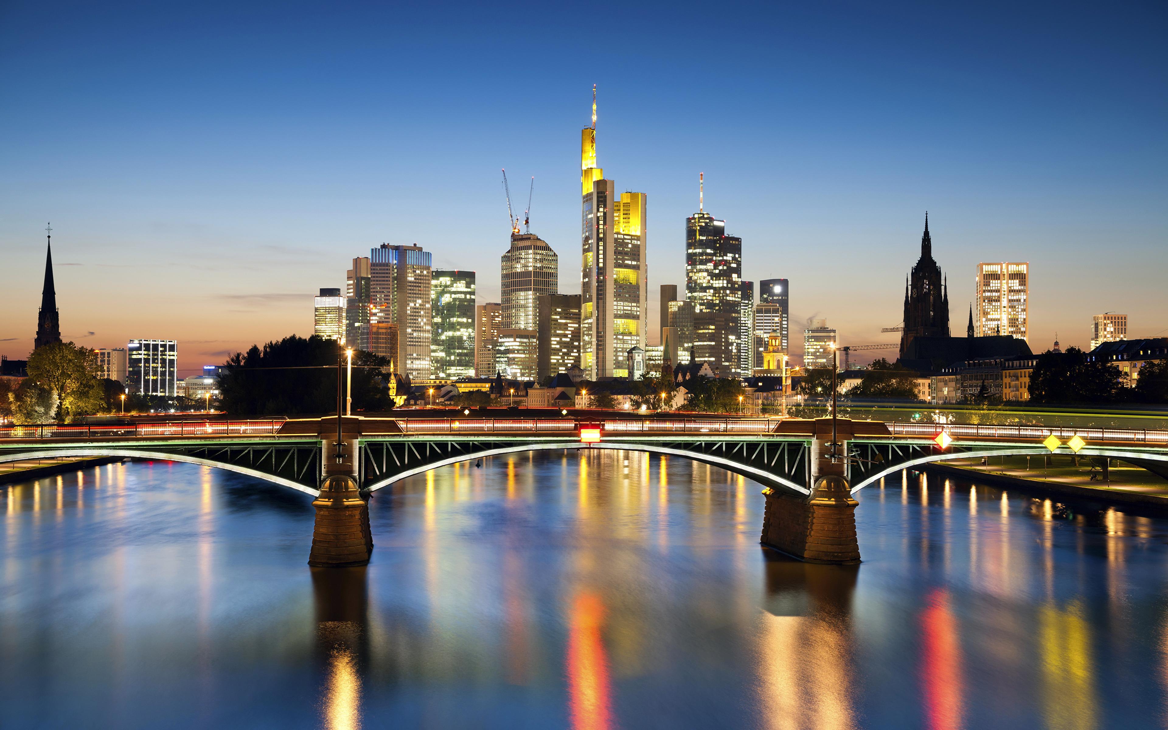 страны архитектура вечер город Франкфурт-на-Майне Германия  № 155565  скачать