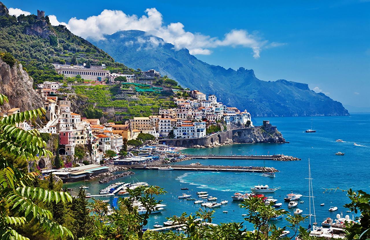 Италия Побережье Горы Дома Amalfi Города