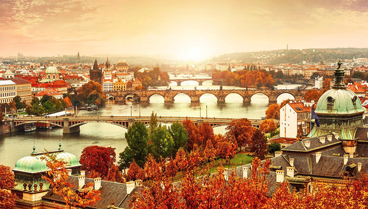 Прага Чехия Дома Реки Мосты Осень  Города