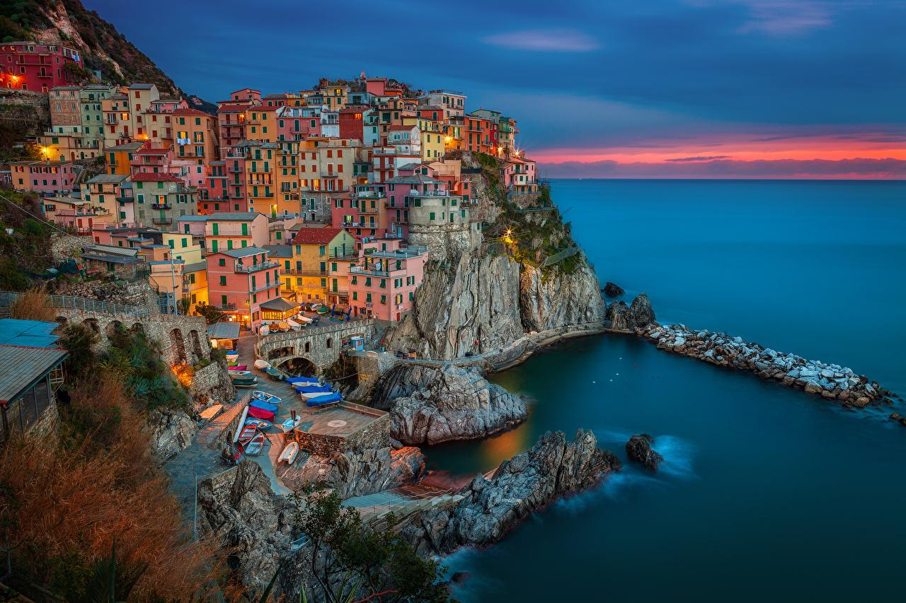 Италия Побережье Дома Рассветы и закаты Manarola Cinque Terre Города