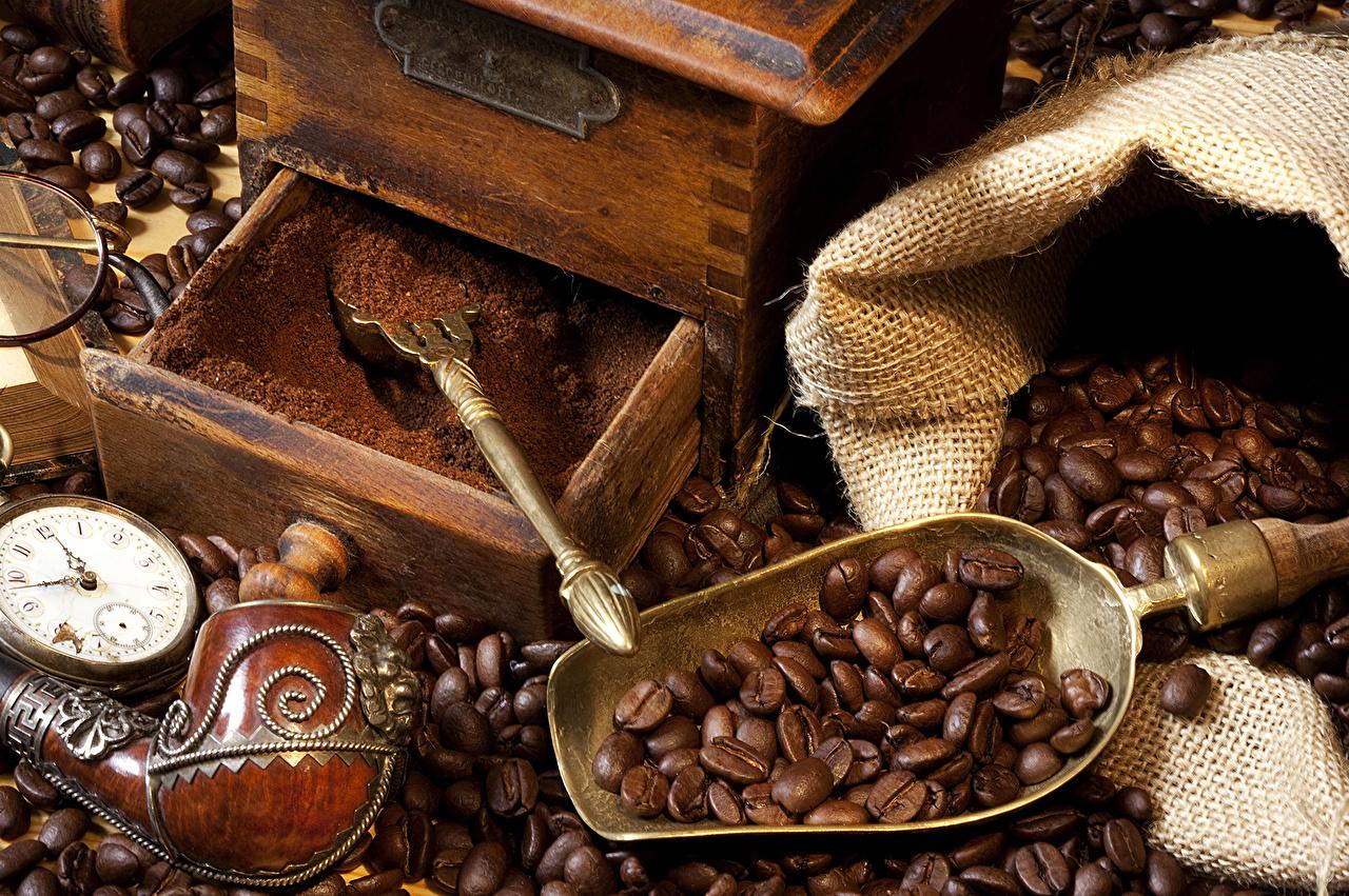 Напитки Кофе Ретро Зерна Ложка Еда