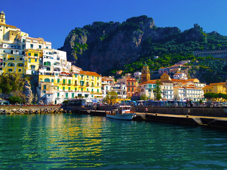 Италия Дома Причалы ( Пирсы ) Amalfi Города