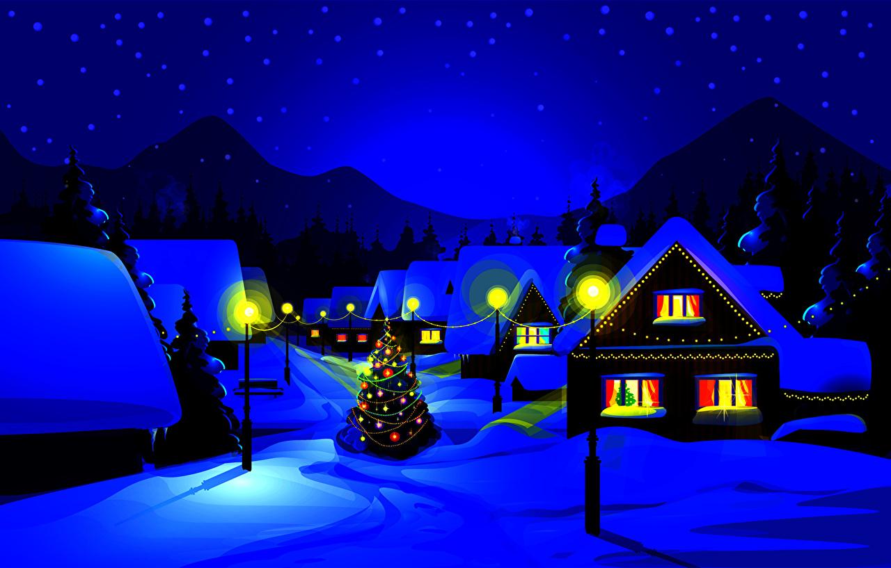 горы дом снег фонарь  № 147808 без смс