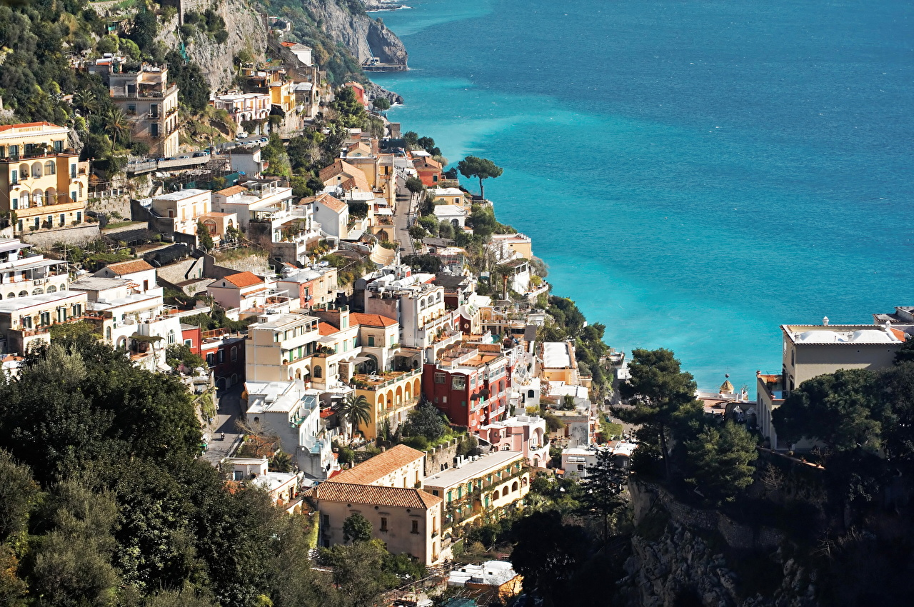 Италия Дома Побережье Amalfi Сверху Города
