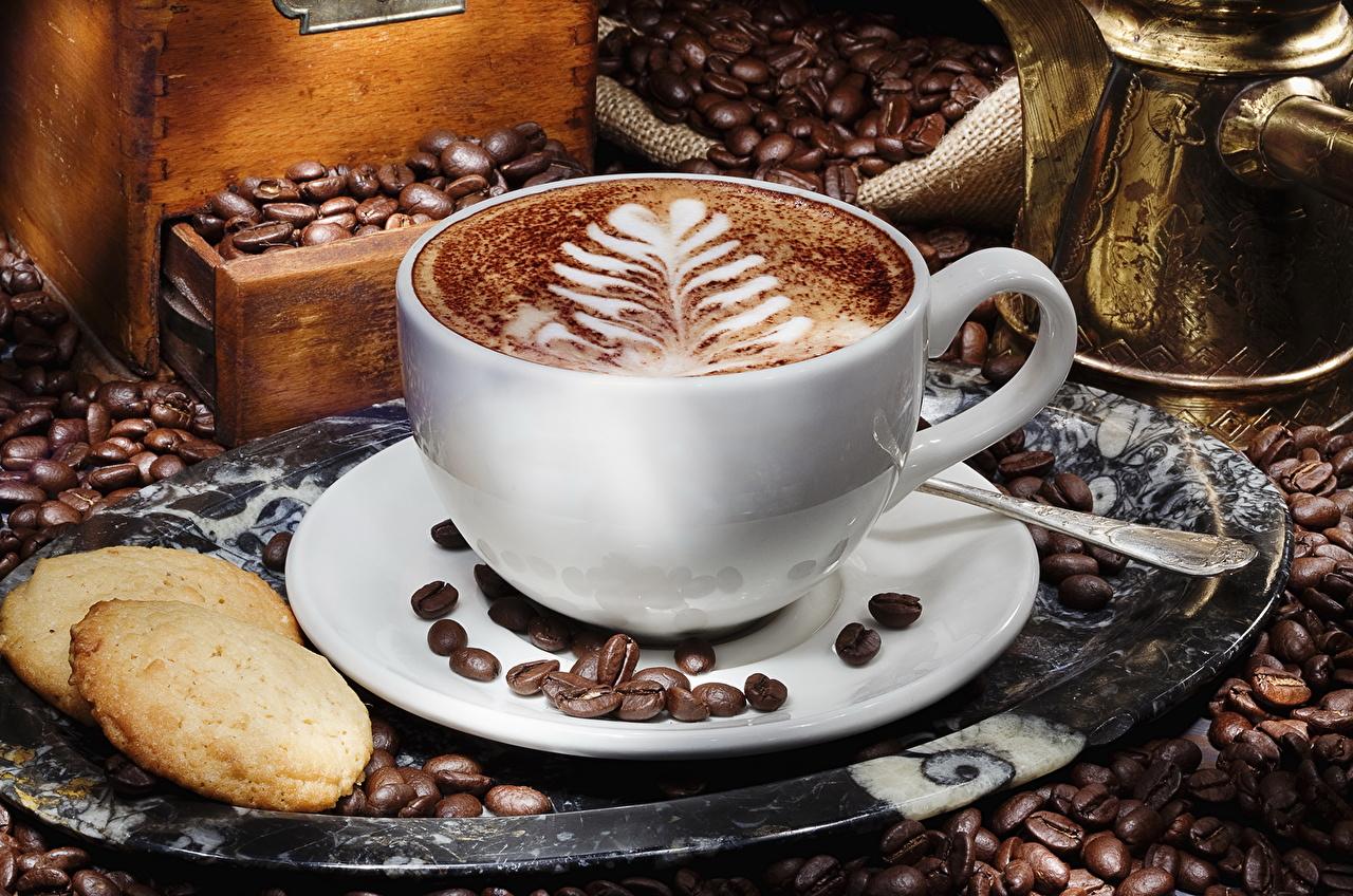 Напитки Кофе Печенье Чашка Зерна Блюдце Еда