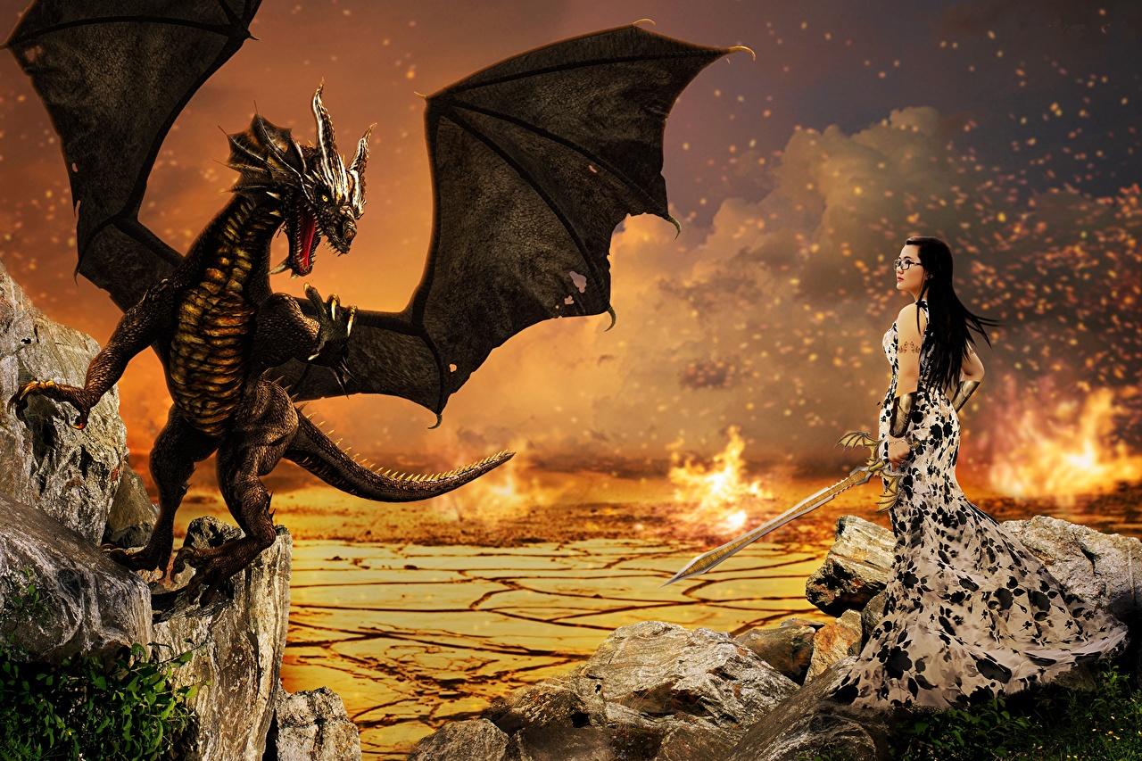 Fantasy girl with dragon