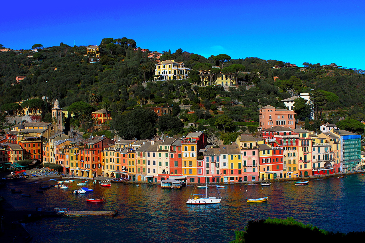 Италия Побережье Дома Liguria Portofino Города