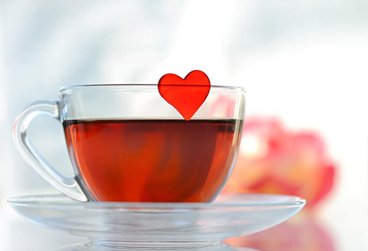Напитки Чай Чашка Сердце Блюдце Еда
