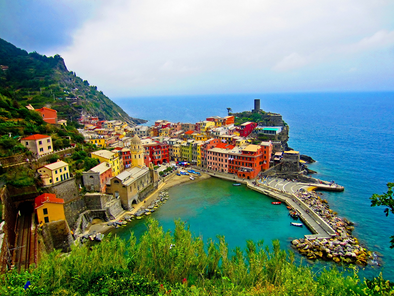 Италия Побережье Дома Cinque Terre Сверху Города