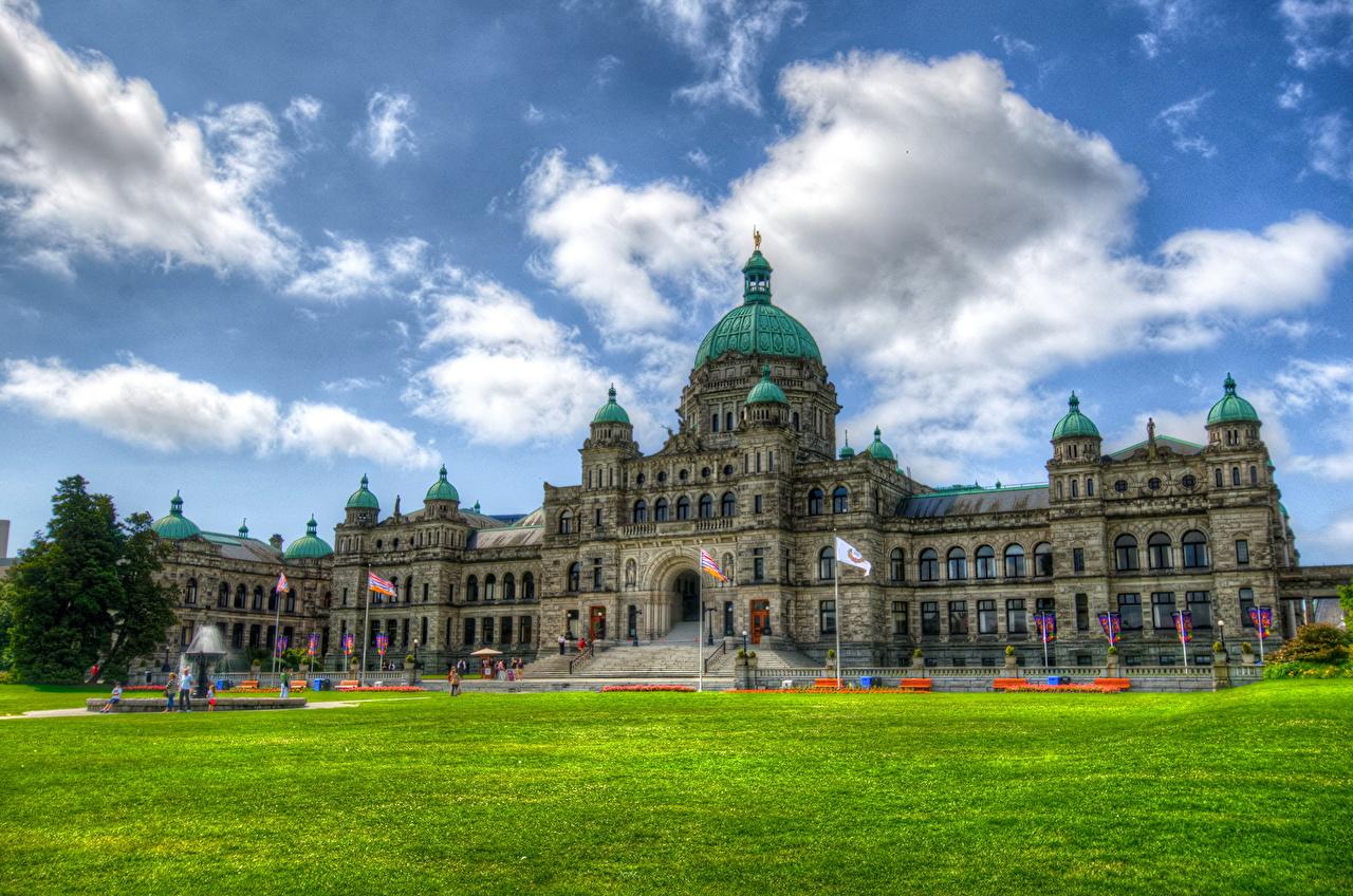 Канада небо parliament british columbia victoria трава