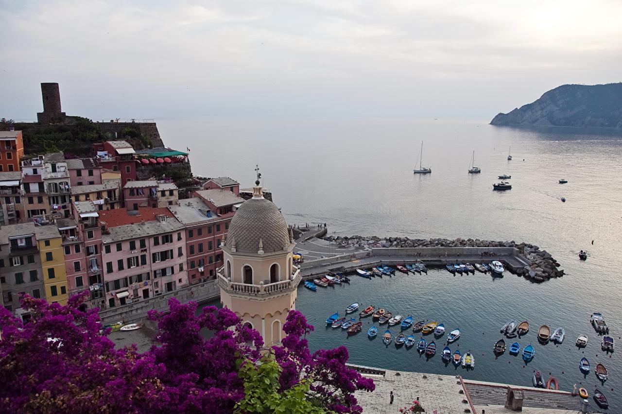 Италия Побережье Дома Море Vernazza Liguria Сверху Города