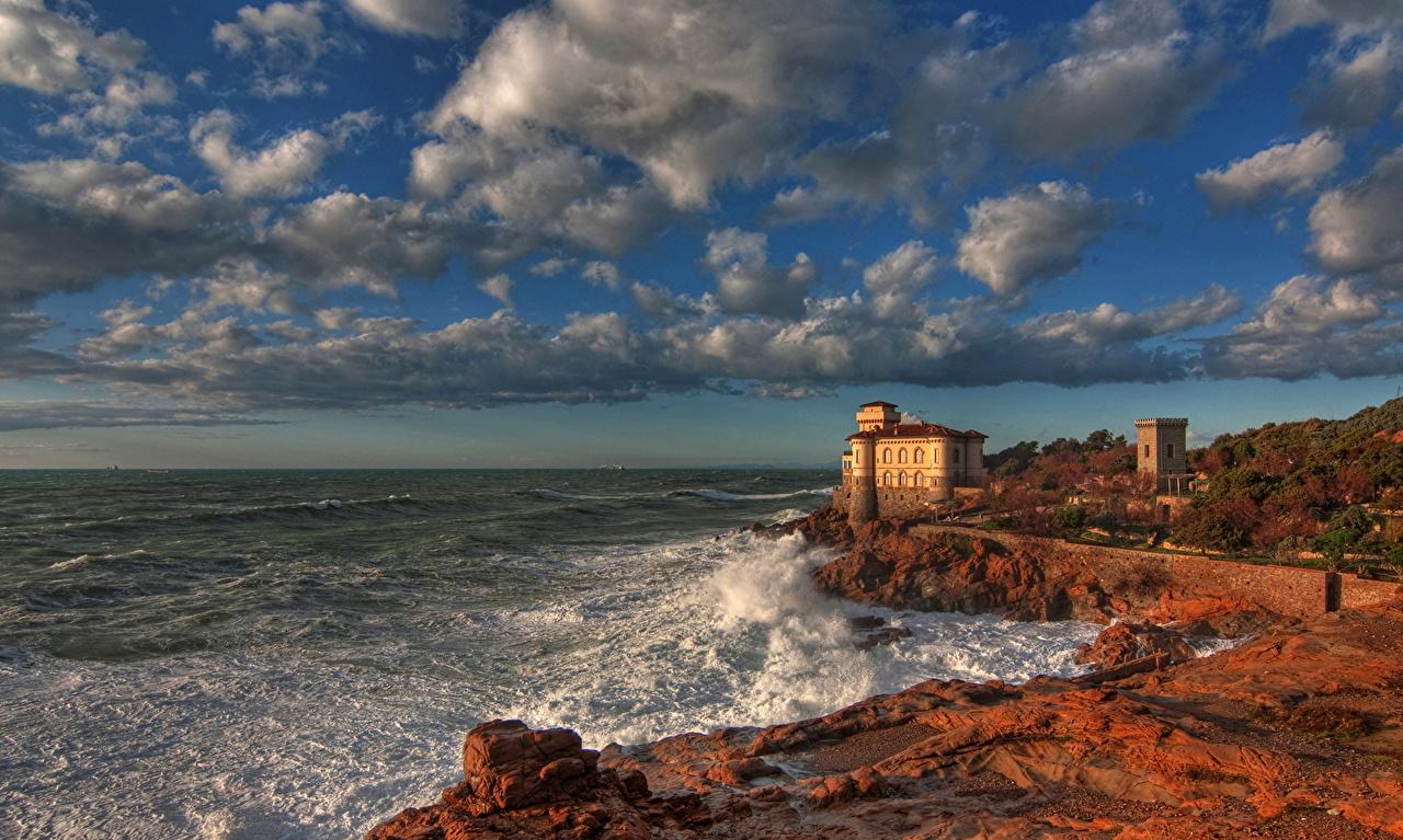 Замки Италия Небо Побережье Boccale Castle Livorno Облака HDR Города