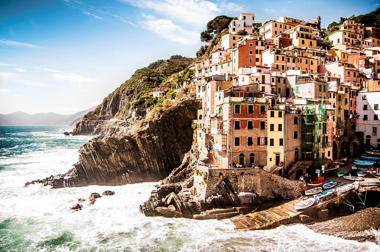 Италия Побережье Дома Riomaggiore Province of La Spezia Cinque Terre Города