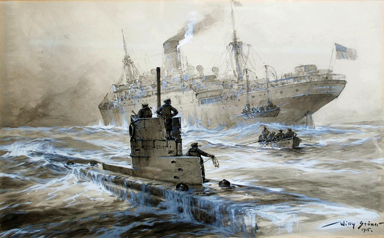 потопление корабля подводной лодкой