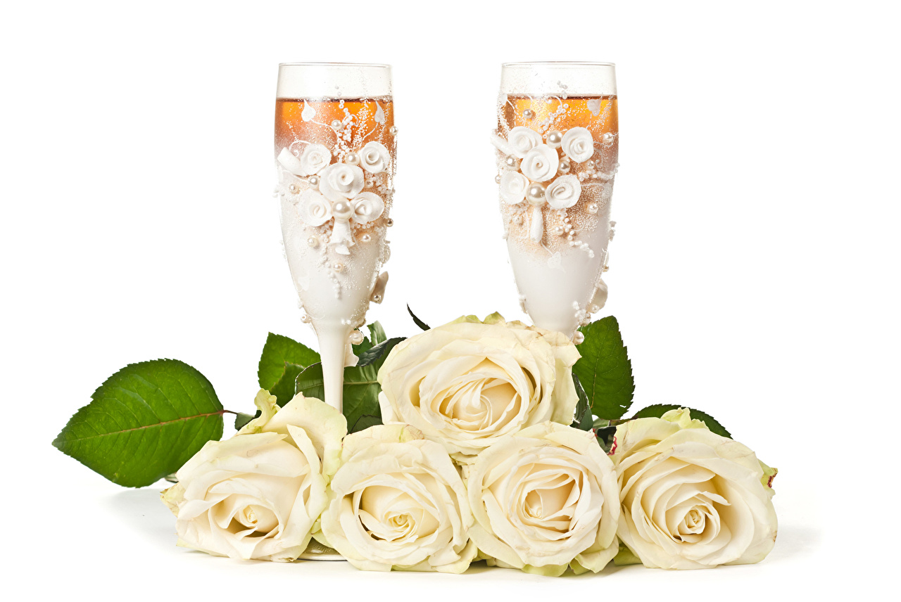 Розы Креатив Бокалы Белый Цветы