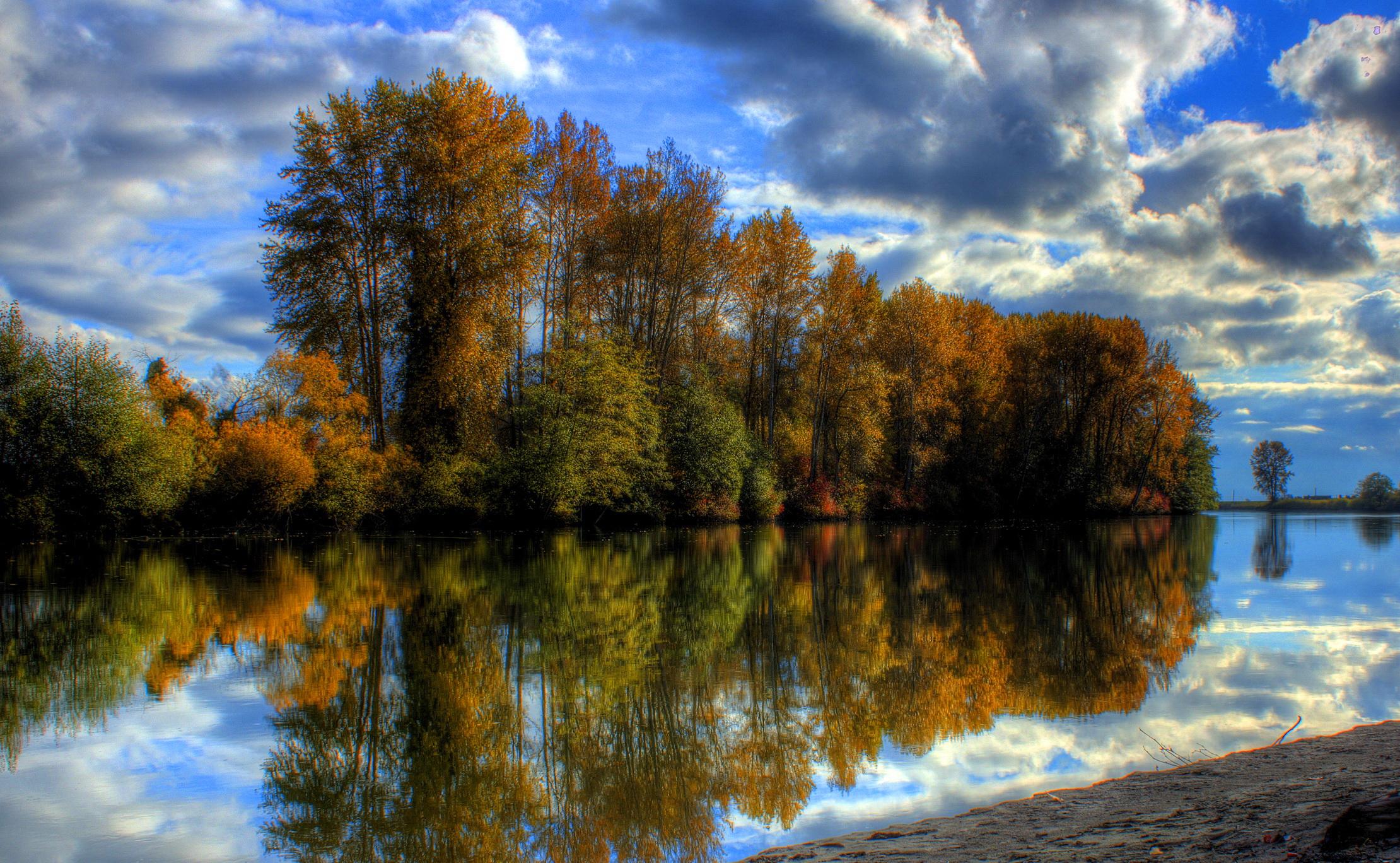 природа HDR река деревья  № 257304 загрузить