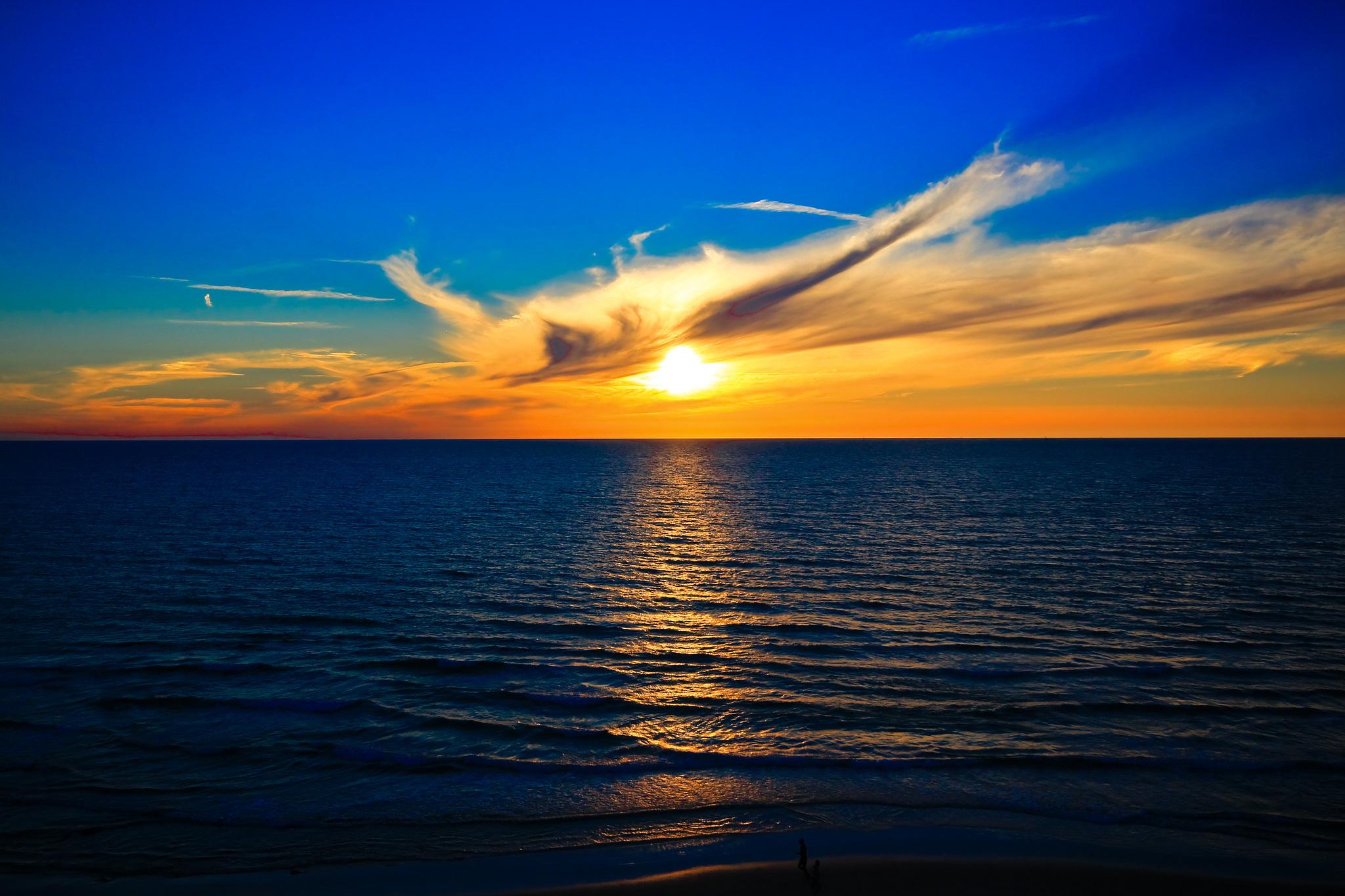 природа море солнце горизонт небо облака  № 717623 загрузить