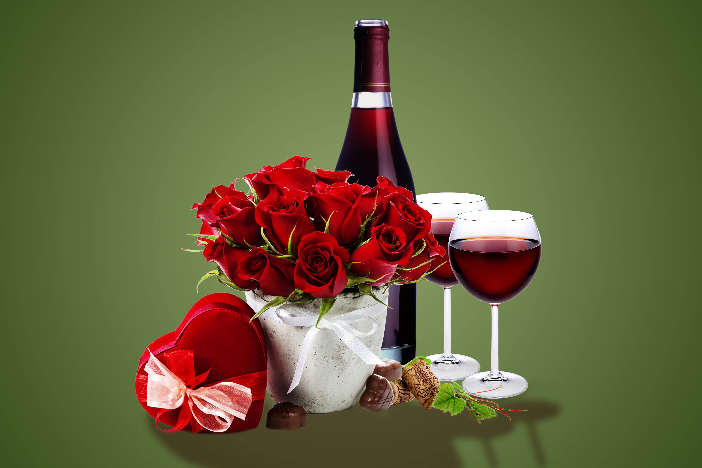 Два бокала с розами  № 750285 бесплатно