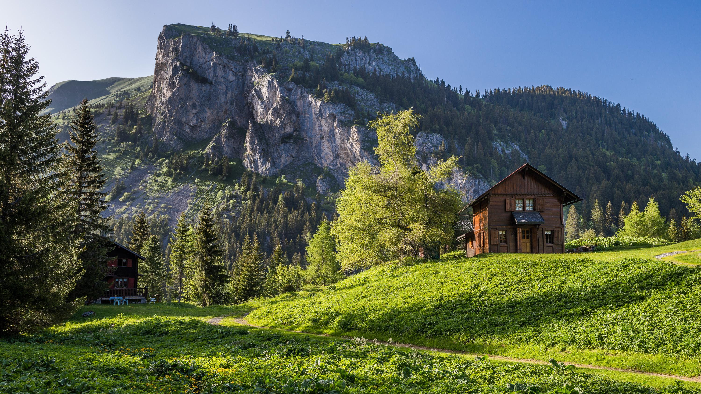 домики, горы, трава  № 307791  скачать