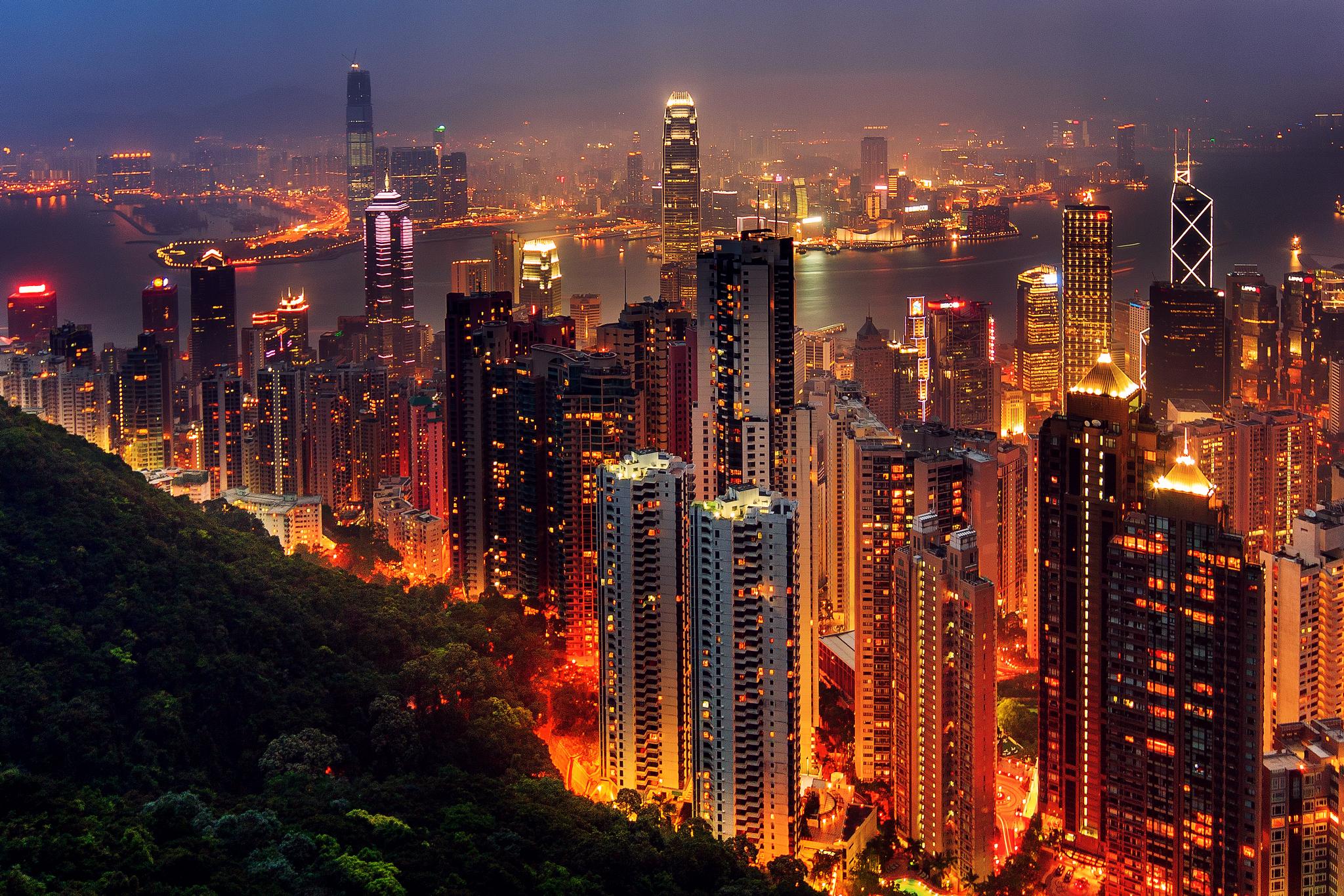 страны архитектура ночь Гонконг  № 1481631 загрузить