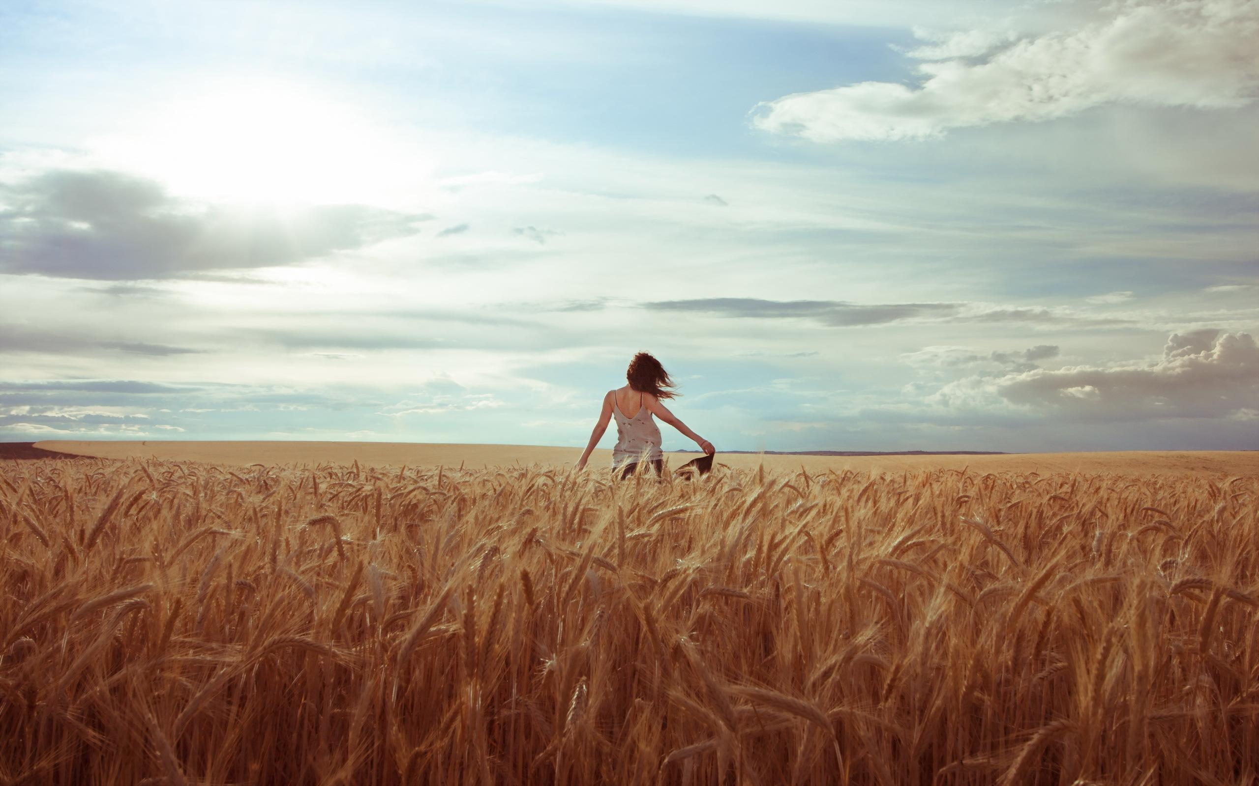 Девушка в поле с колосьями  № 1822156  скачать