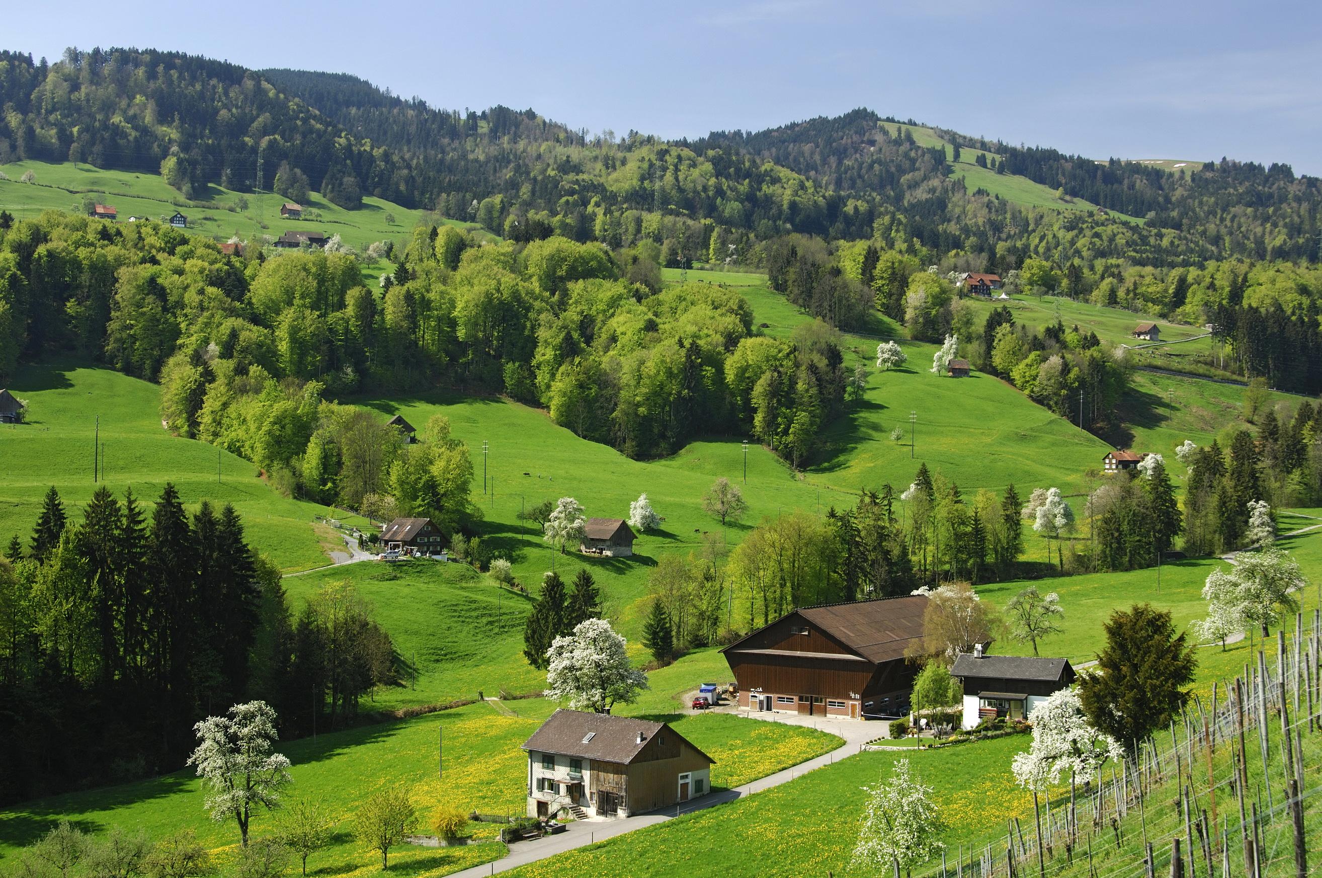 Швейцария деревня обои для рабочего стола