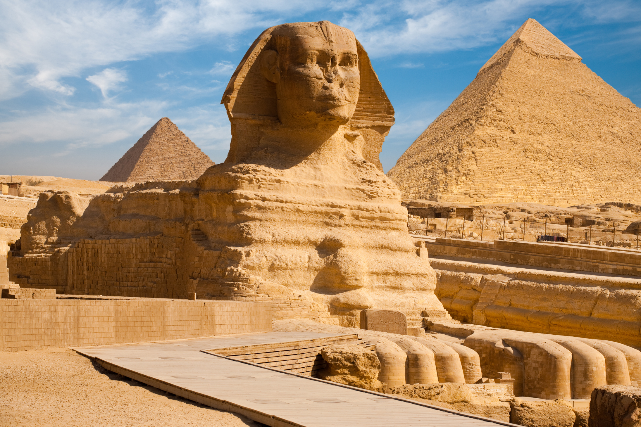 Great Sphinx, Chephren Pyramid, Giza, Egypt  № 2245225 загрузить