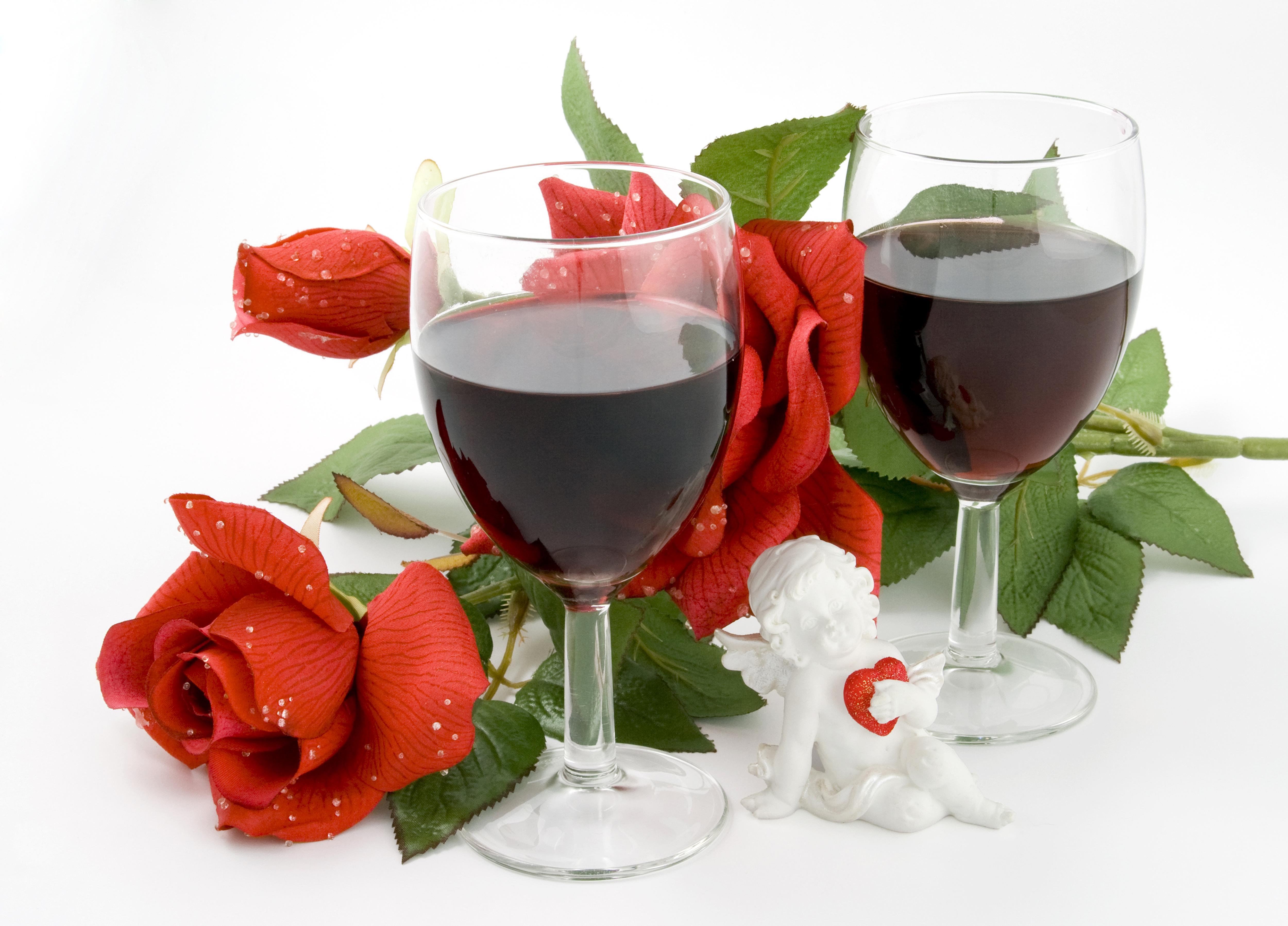 Два бокала с розами  № 750301 бесплатно