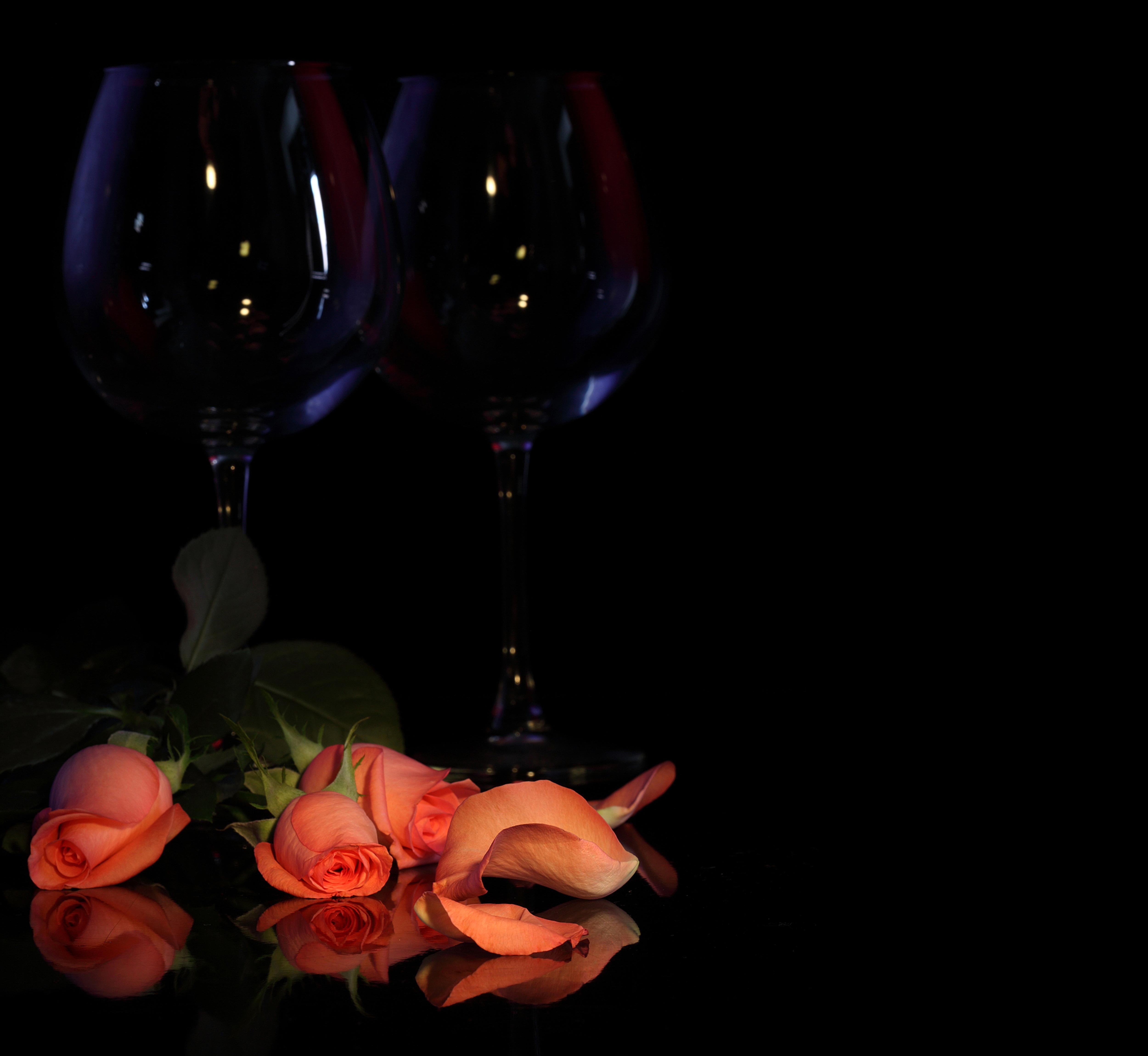 Два бокала с розами  № 750251 бесплатно