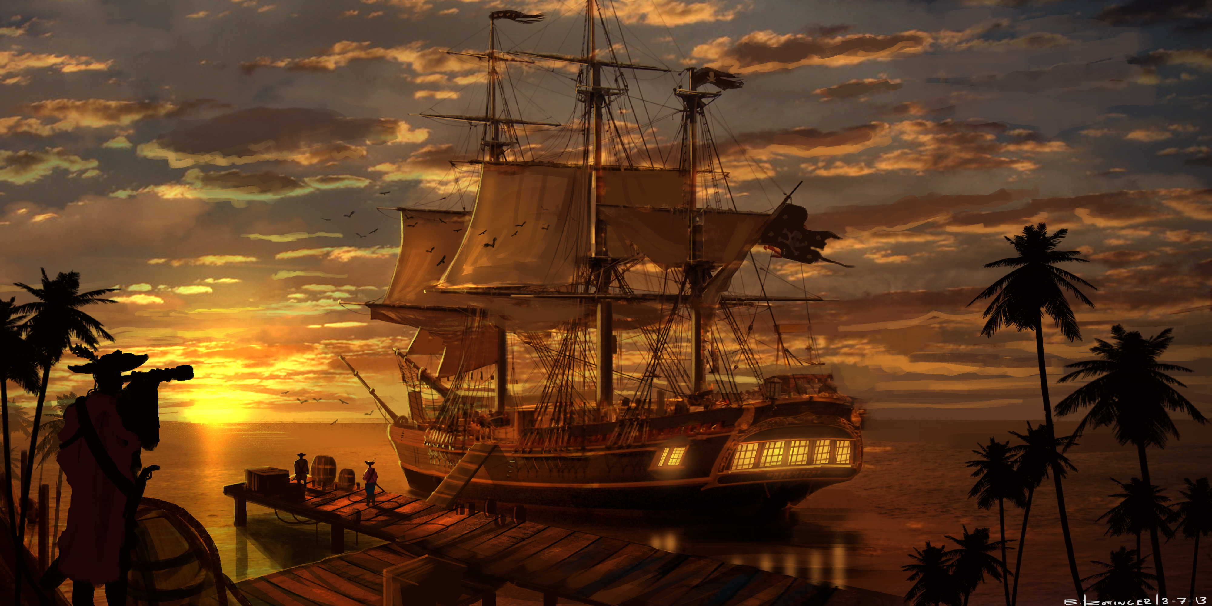 корабли на закате  № 3504059 без смс