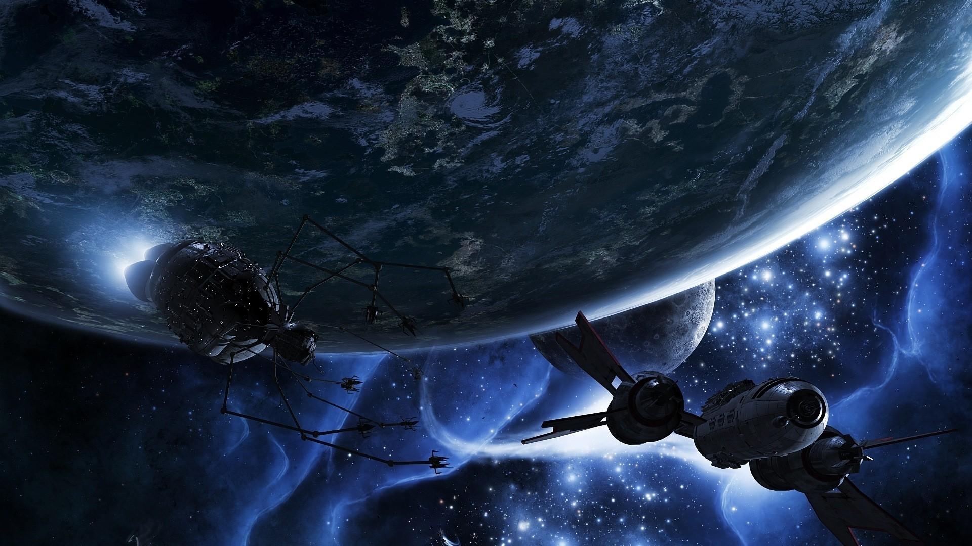 Обои Планета и спутник картинки на рабочий стол на тему Космос - скачать  № 43075 загрузить