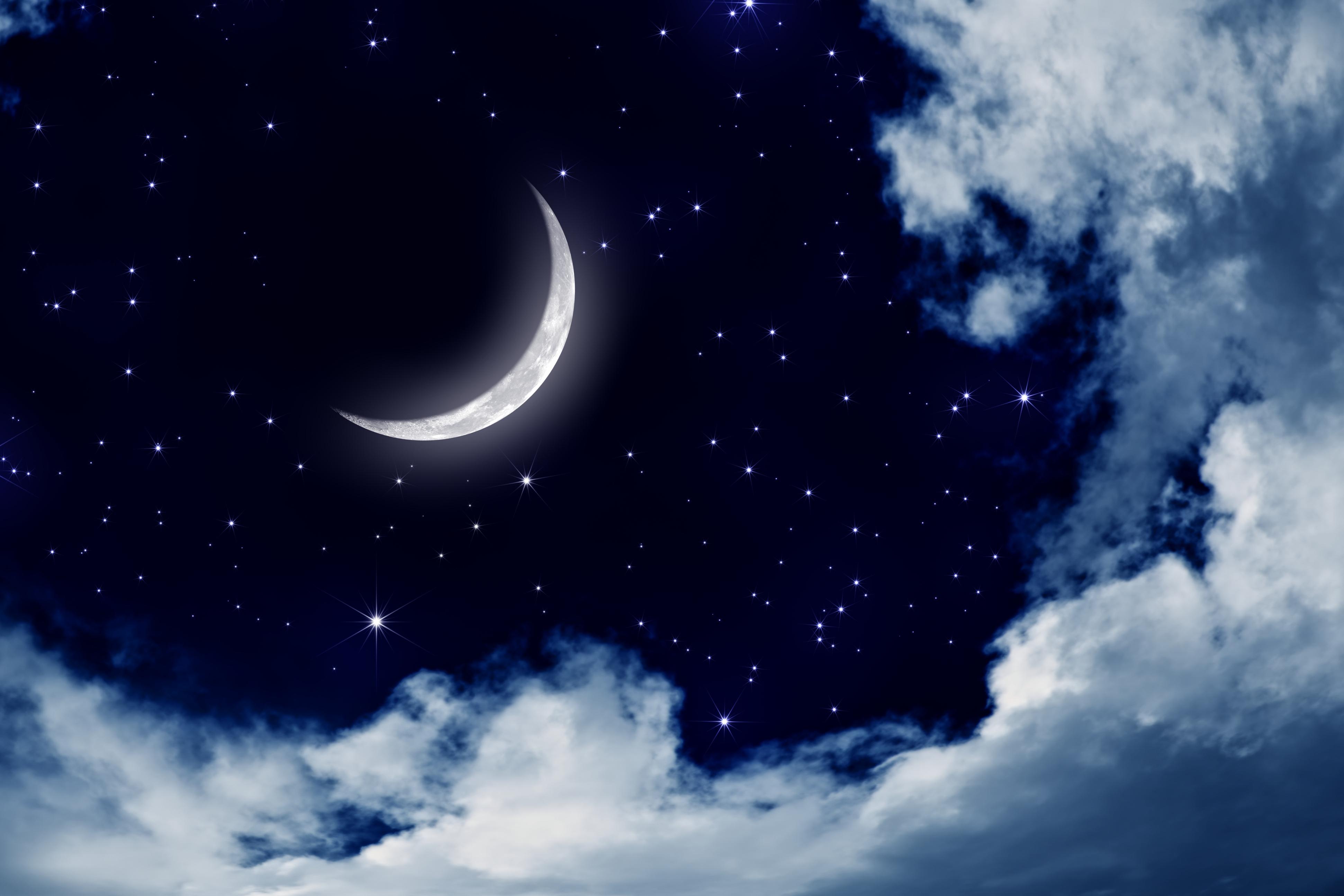 Обои на рабочий стол ночь луна звезды