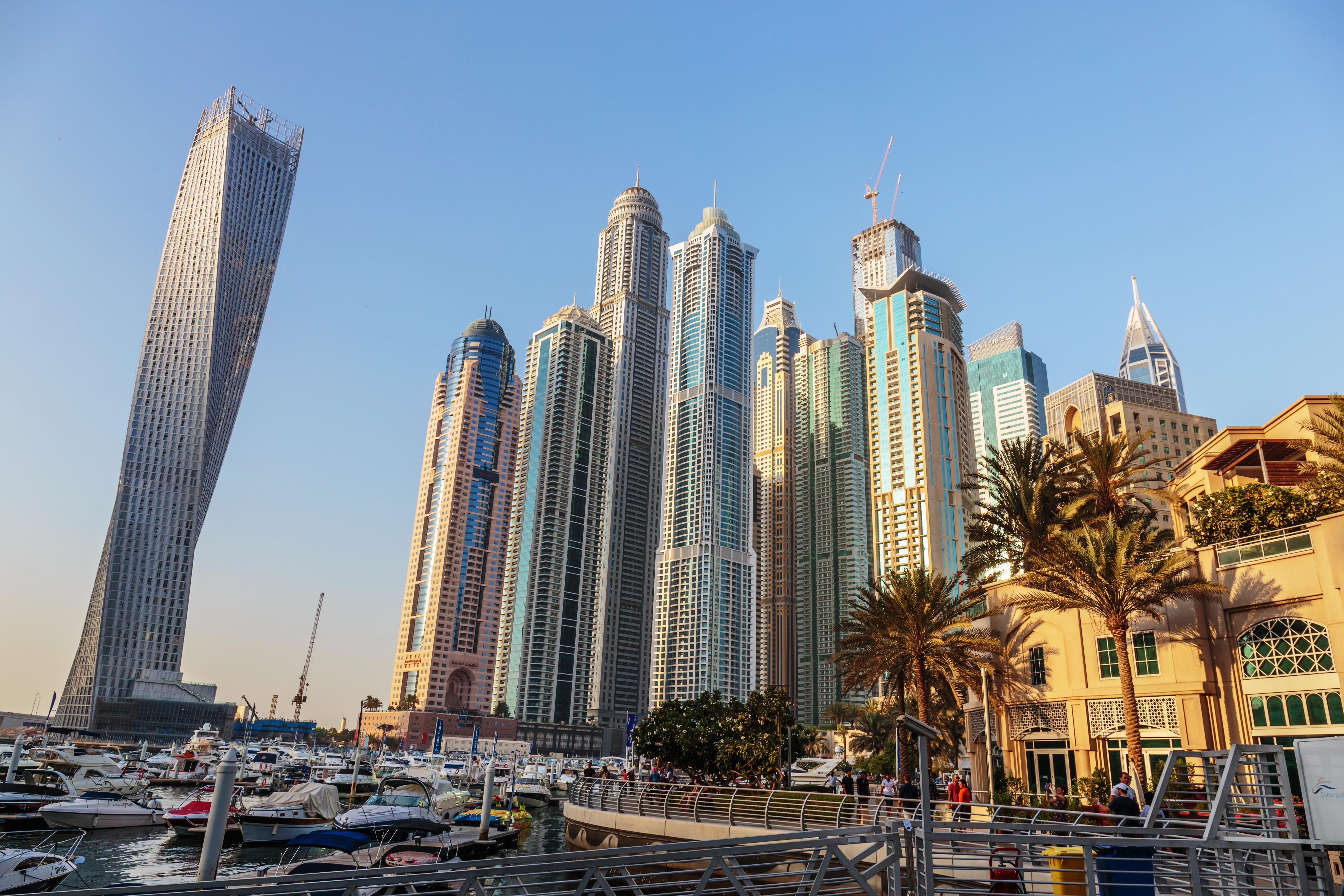 страны архитектура небоскреб рассвет Дубаи объединенные арабские эмираты  № 2209857 загрузить