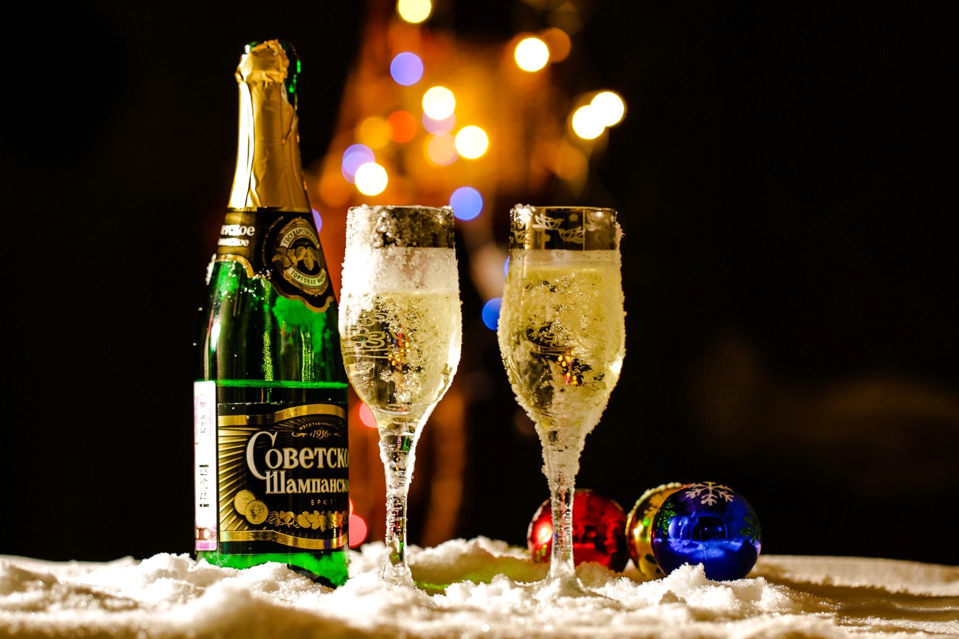 Шампанское и вино на новый год