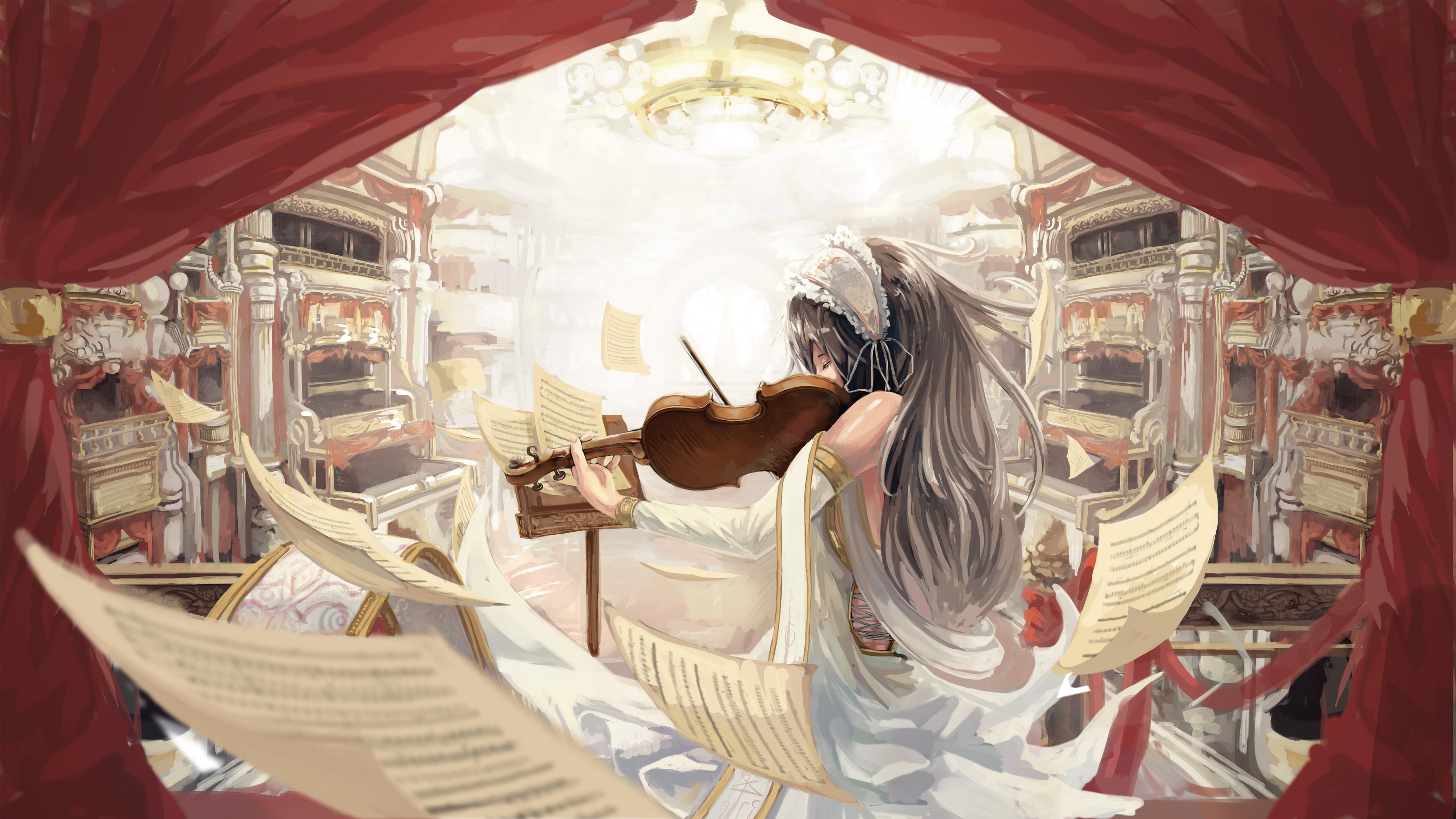 Девушка со скрипкой абстракция  № 2052256 загрузить