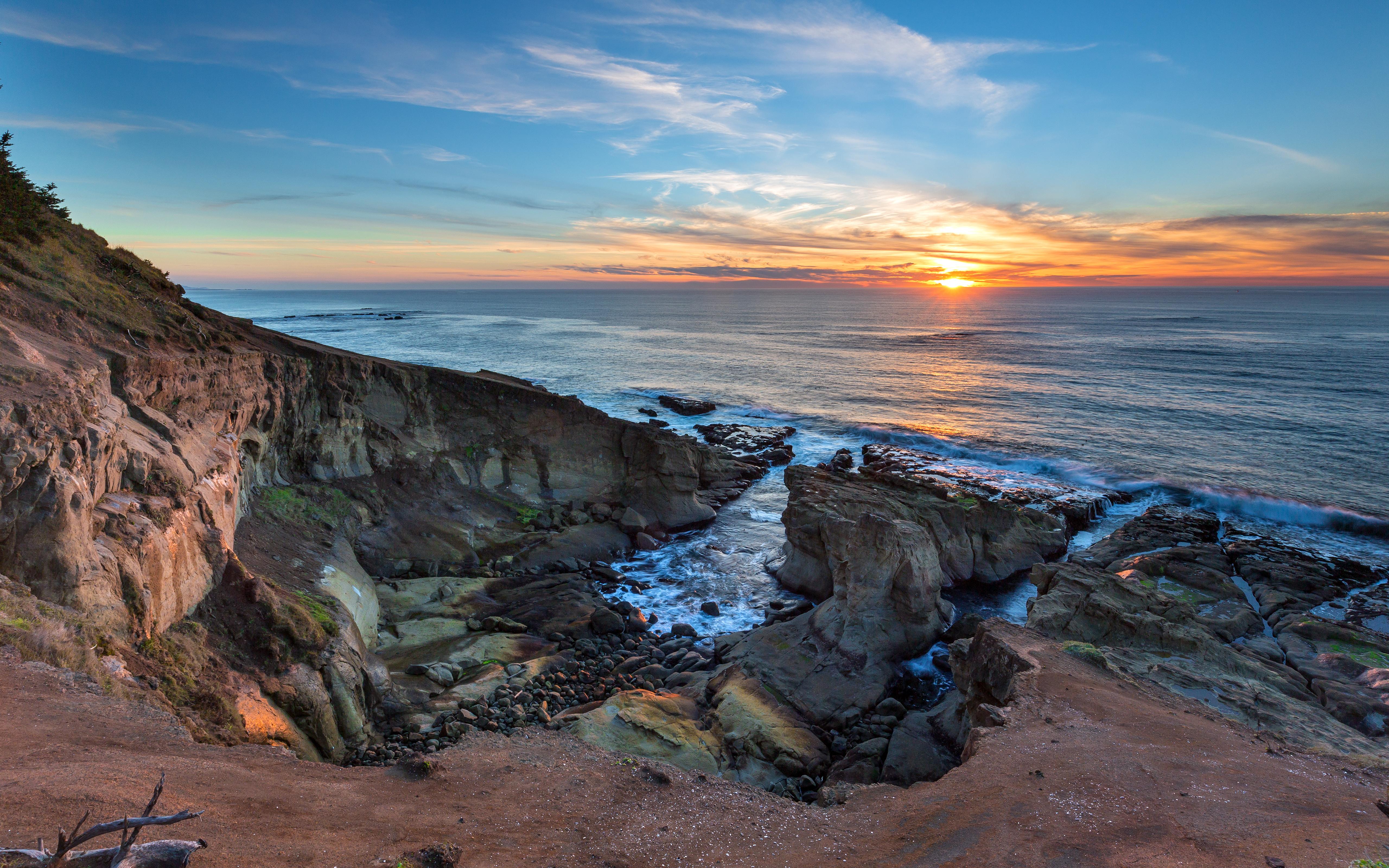 море океан камни скалы закат sea the ocean stones rock sunset  № 2530590 бесплатно