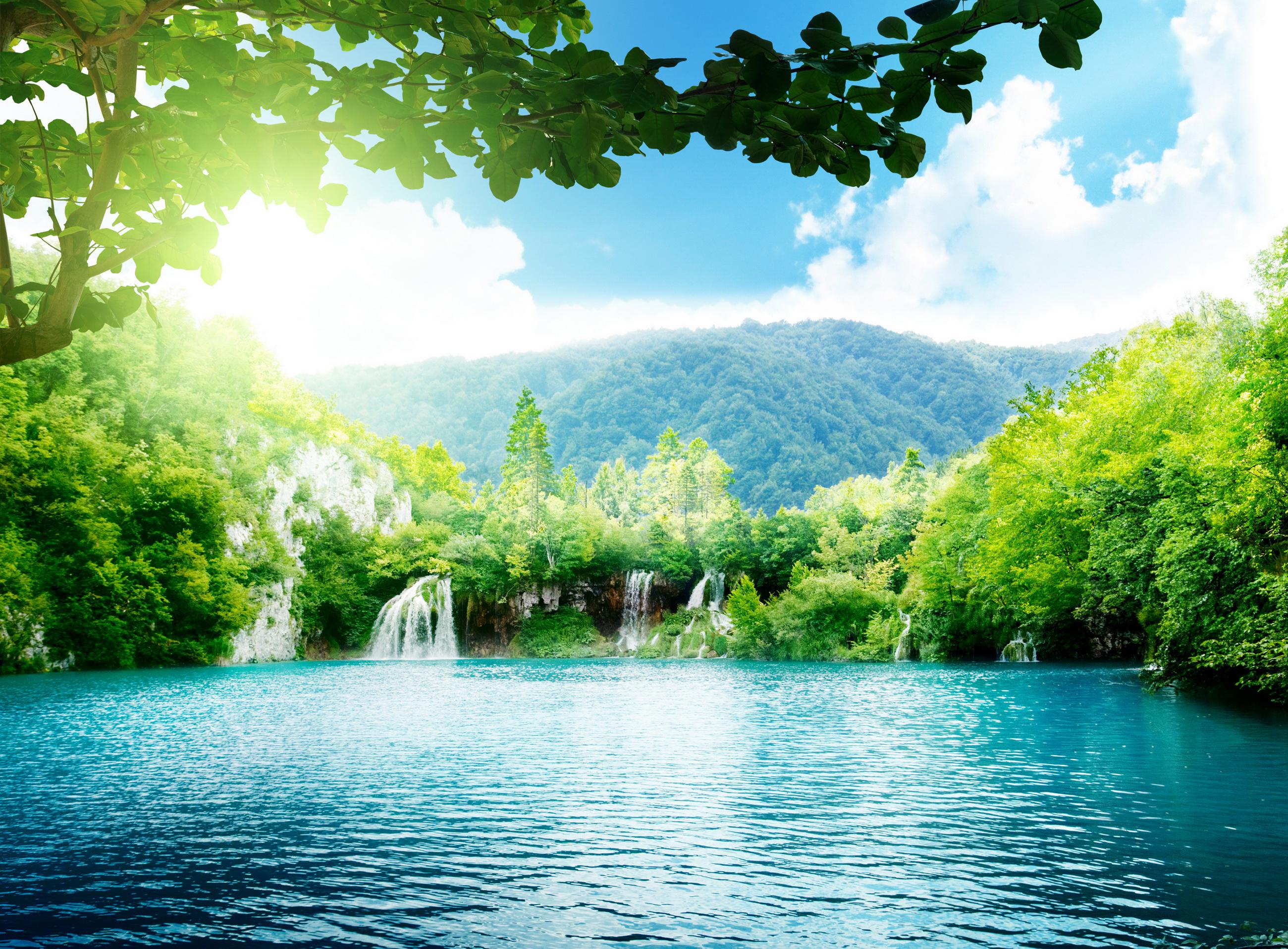 водопад водоем waterfall the pond  № 736695 бесплатно