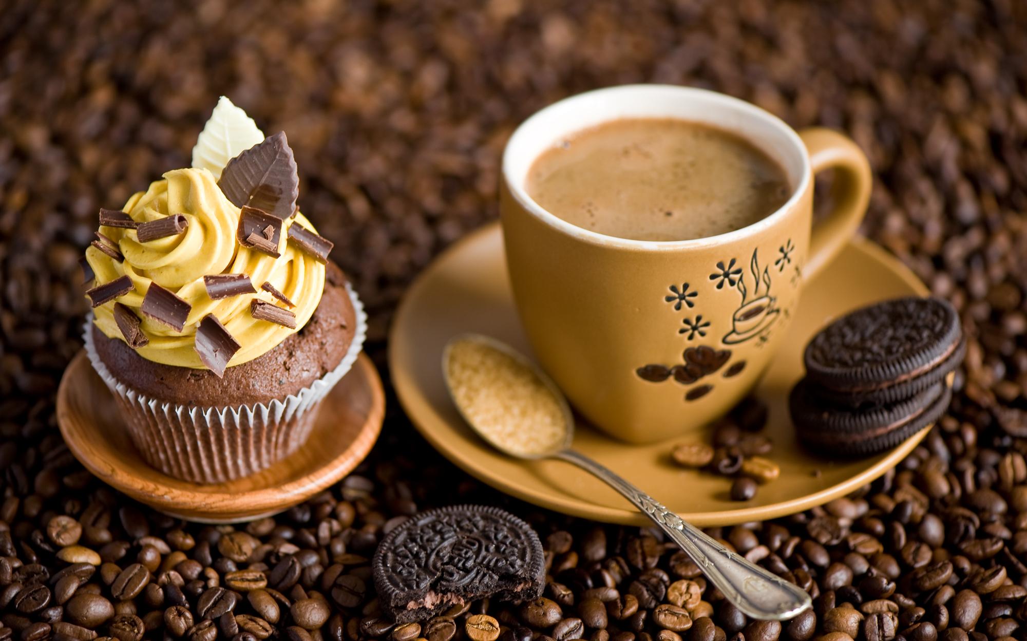 Кофе с пирожными открытки 34