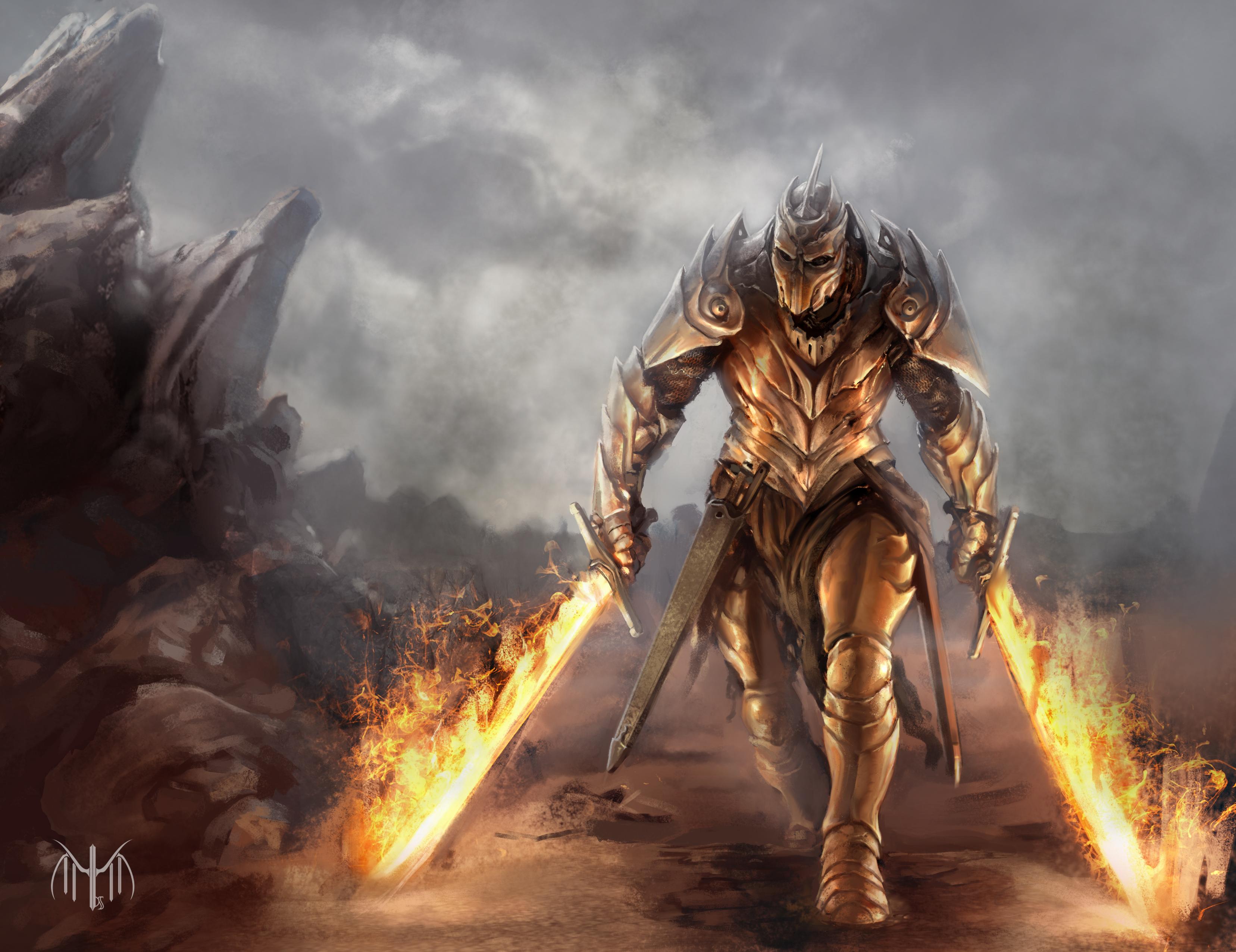 Мжчина с окровавленным мечем в огне  № 1840897 загрузить